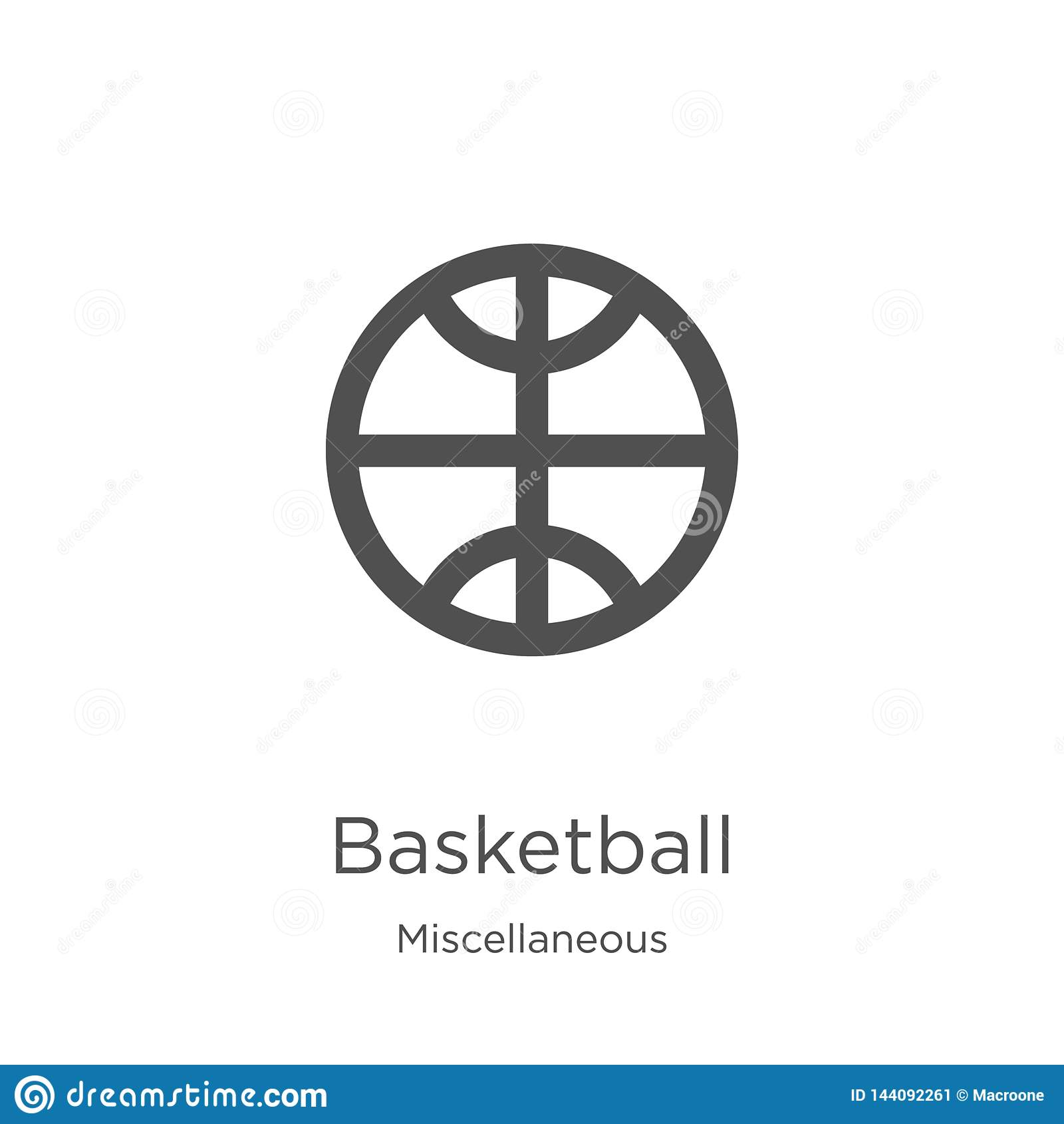 篮球从混杂收藏的象传染媒介 稀薄的线篮球概述象传染媒介例证 概述,稀薄的线