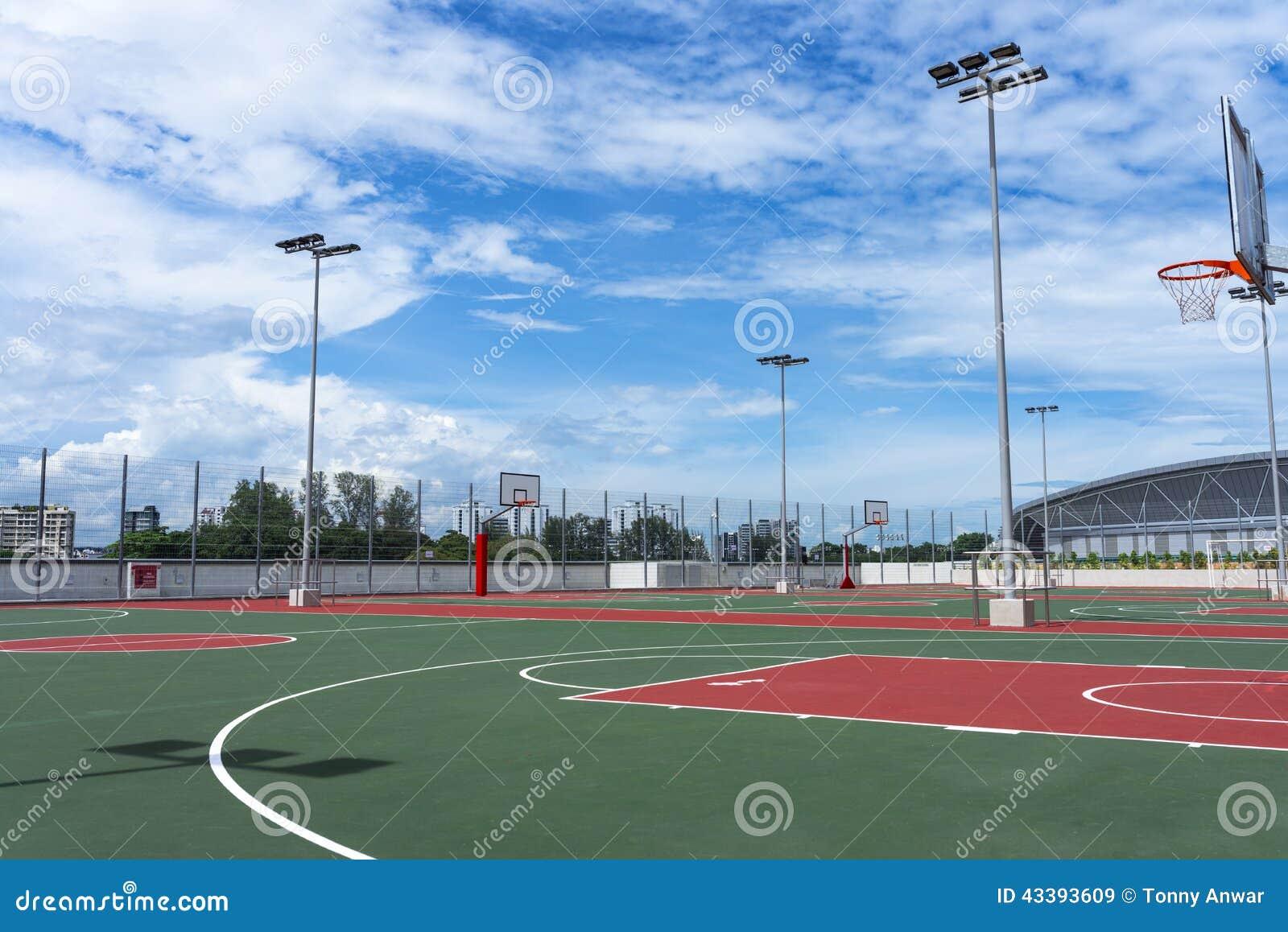 篮球场,如果例证