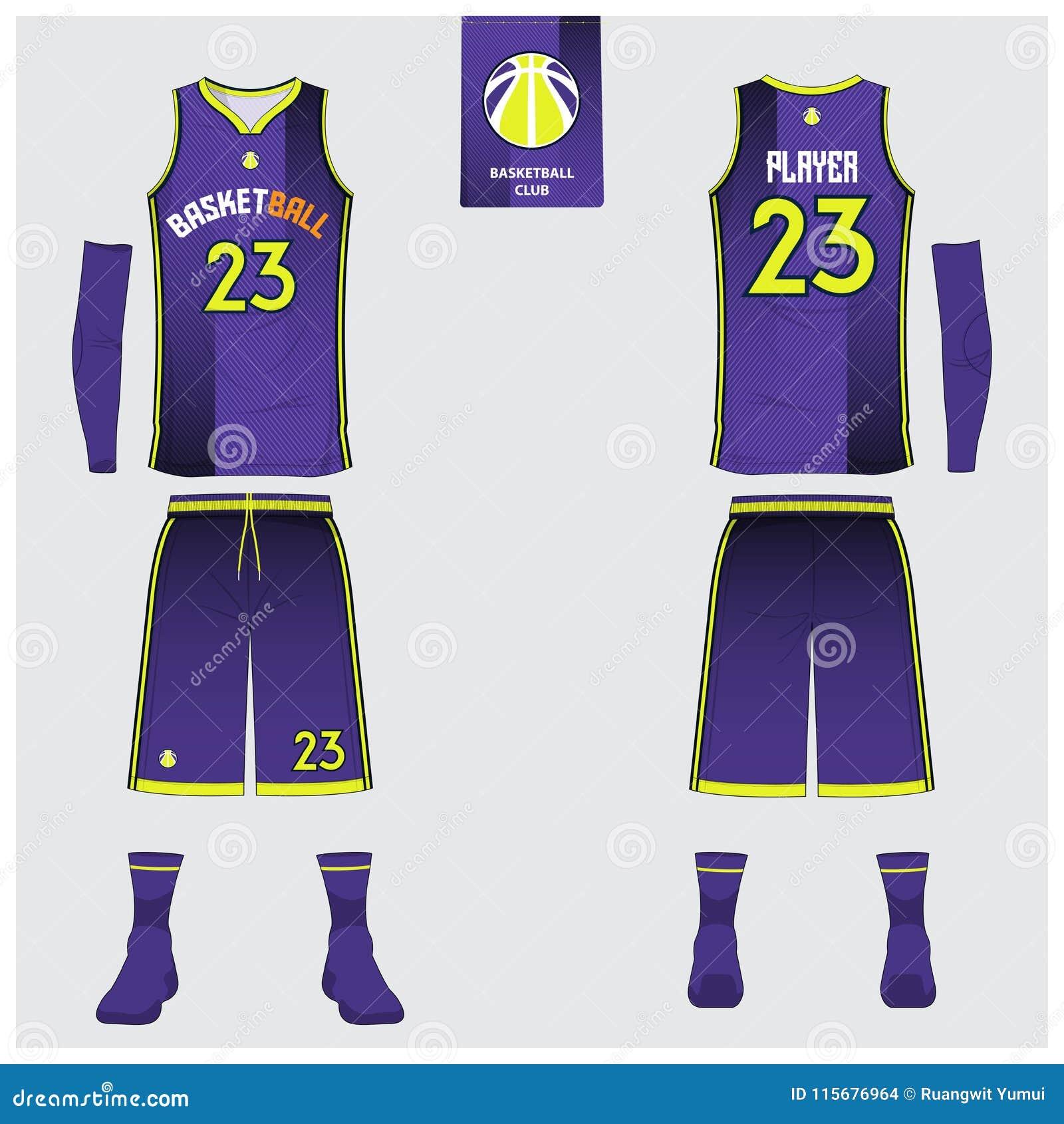篮球球衣,短裤,殴打篮球俱乐部的模板 前面和后面看法体育制服 无袖衫T恤杉嘲笑