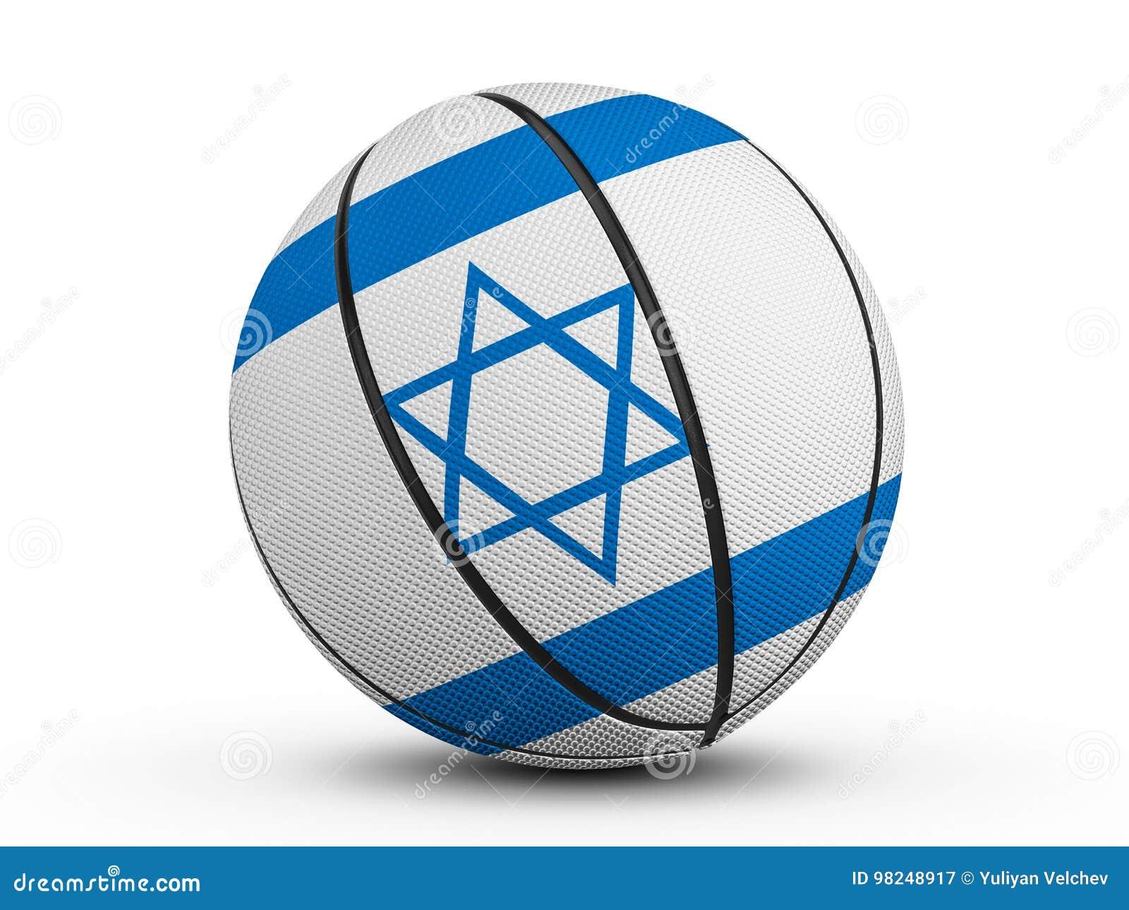 篮球球以色列旗子