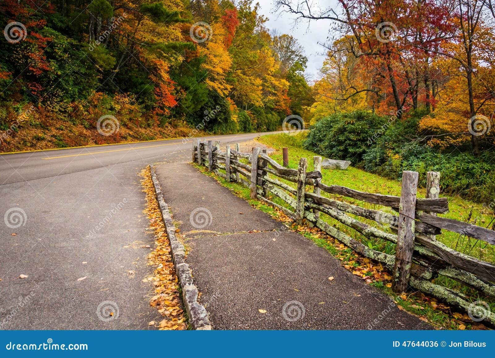 篱芭和秋天颜色沿蓝岭山行车通道朱利安PR的