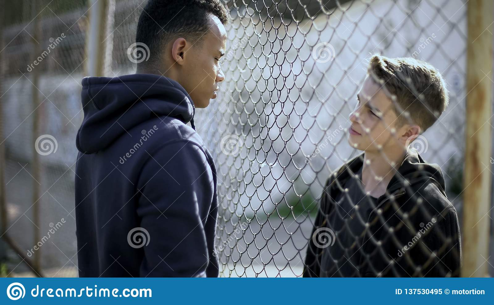 篱芭和贫寒分离的富有,另外国籍谈话的两个男孩