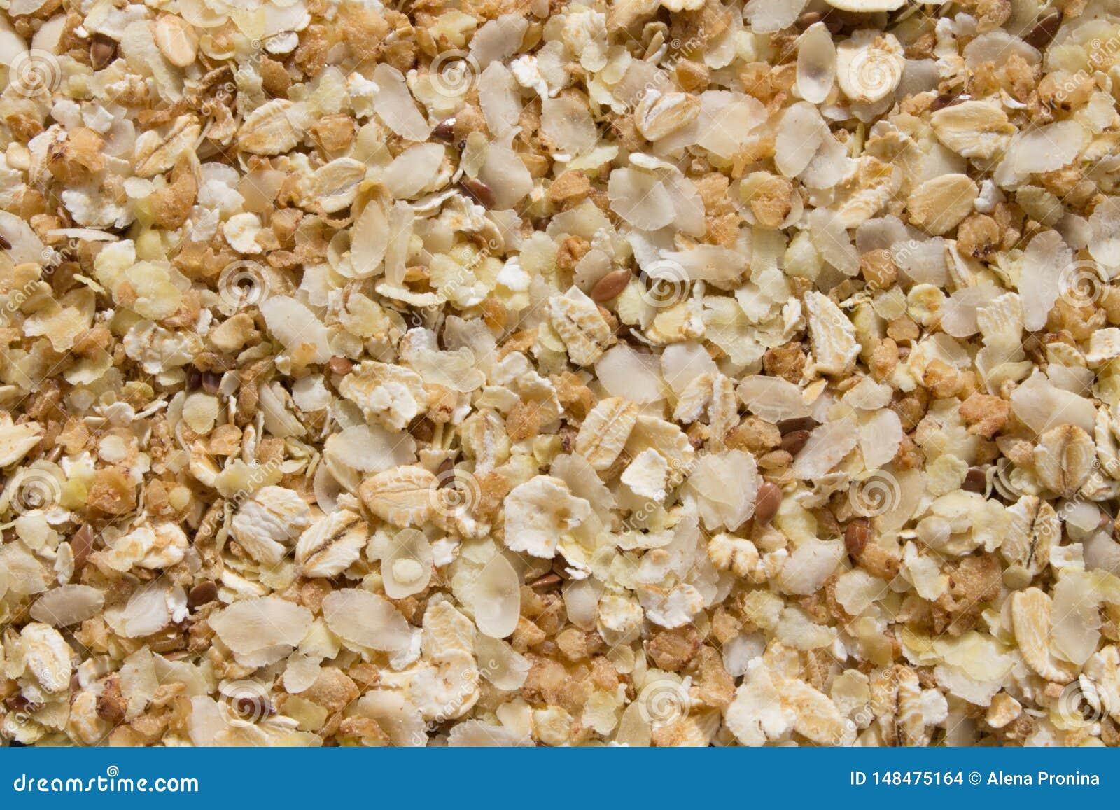 米、燕麦、荞麦剥落和亚麻籽混合物的背景