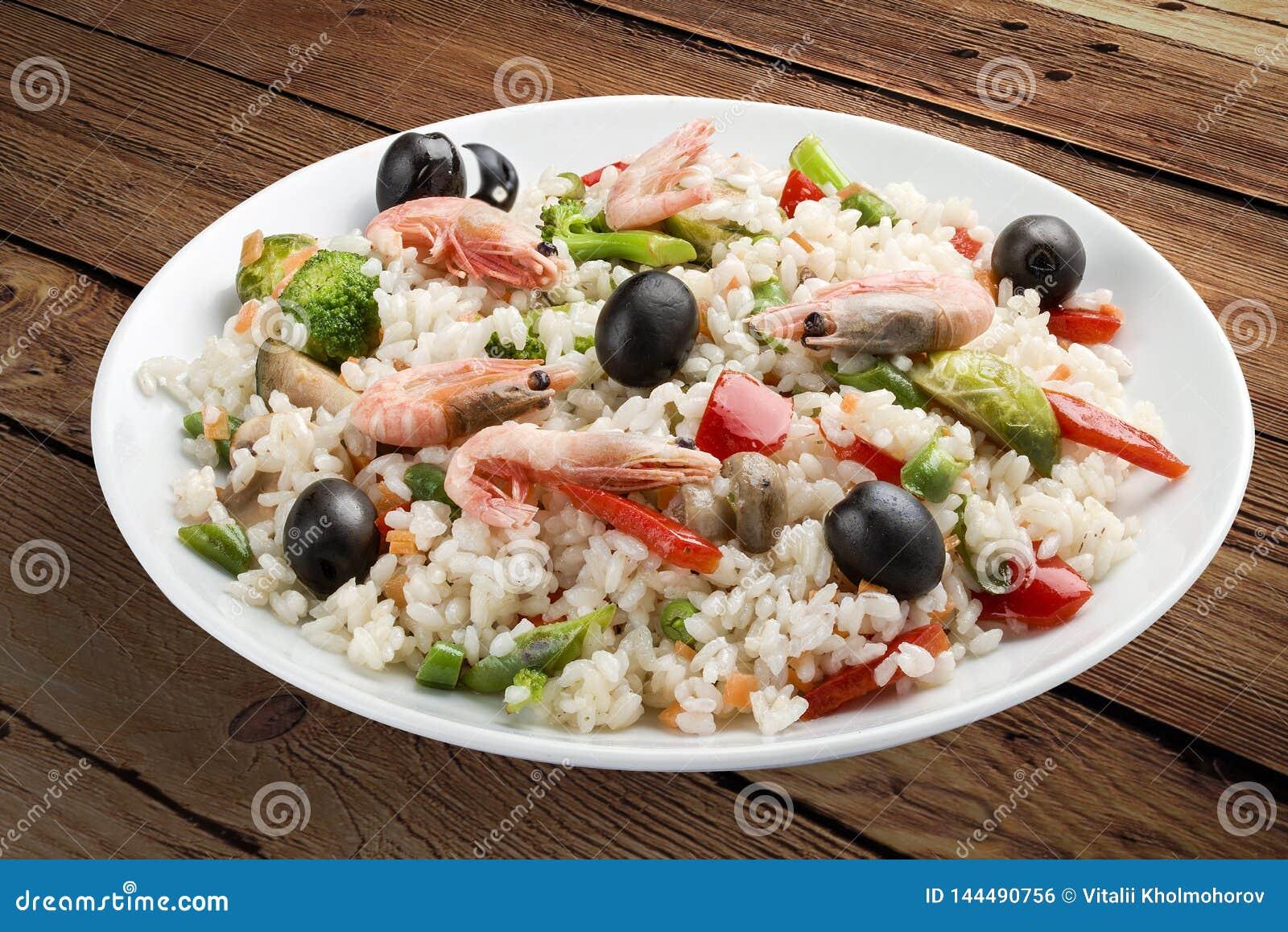 米粥用虾和菜