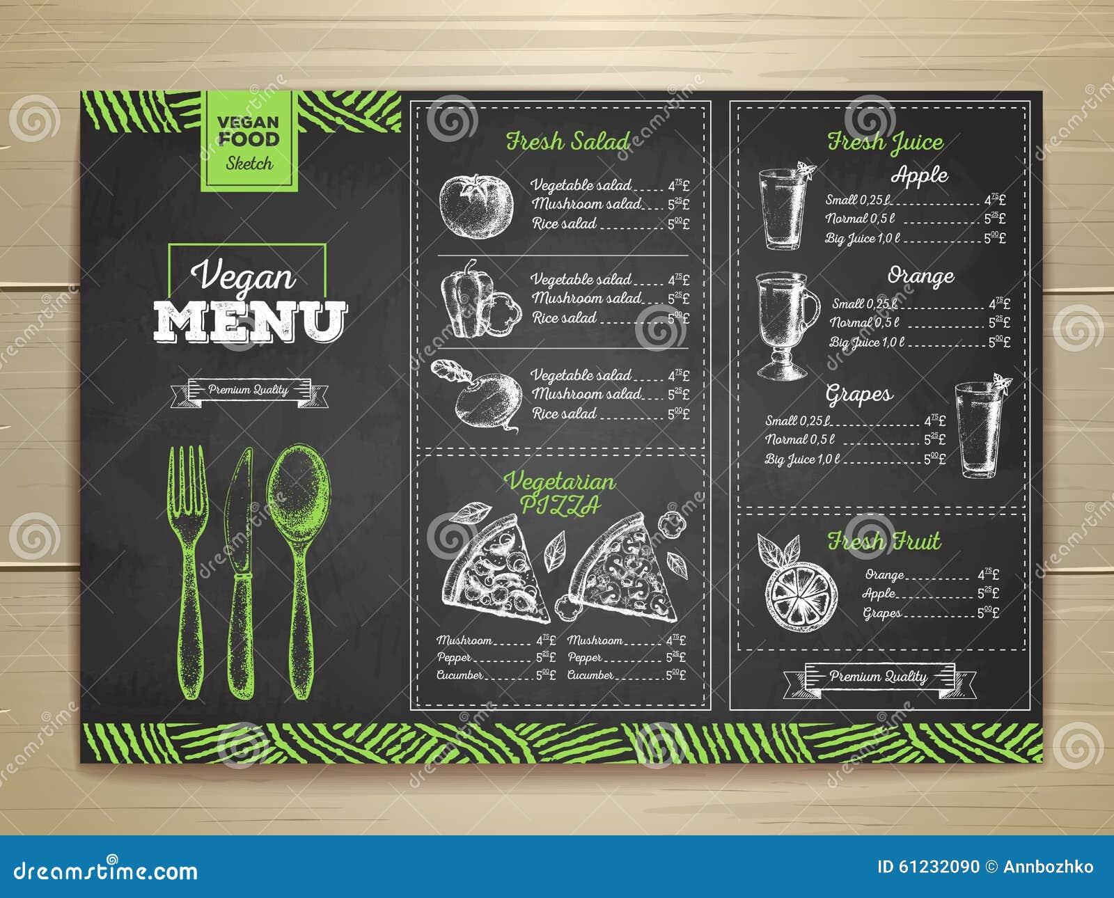 粉笔画素食食物菜单设计