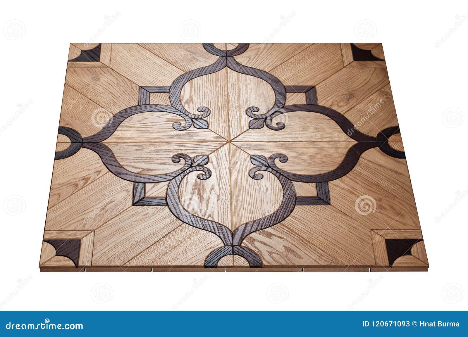 精华模件木条地板 与豪华纹理和样式的自然木地板 在被隔绝的白色背景的等轴测图