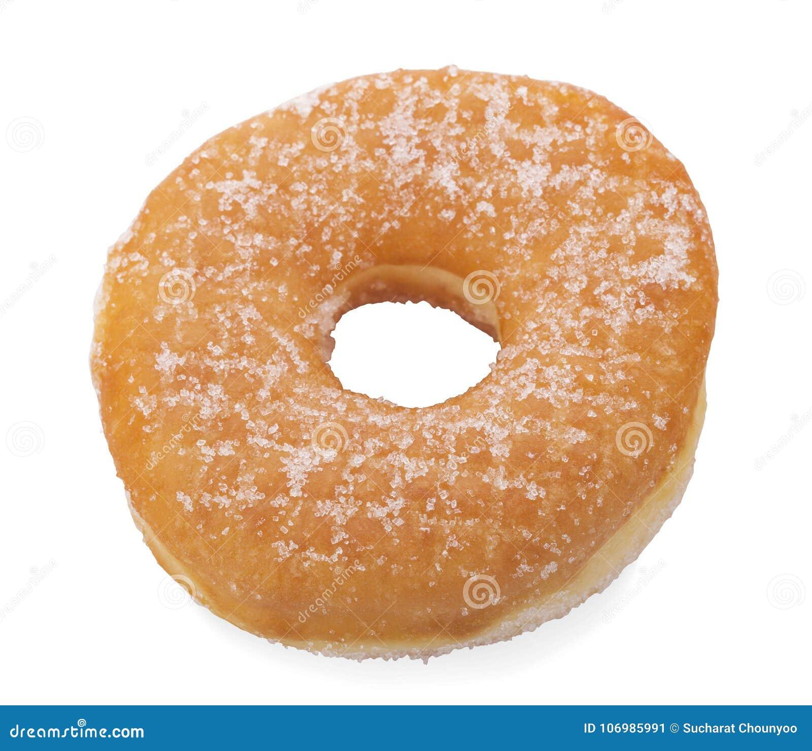 糖在白色背景隔绝的圆环多福饼