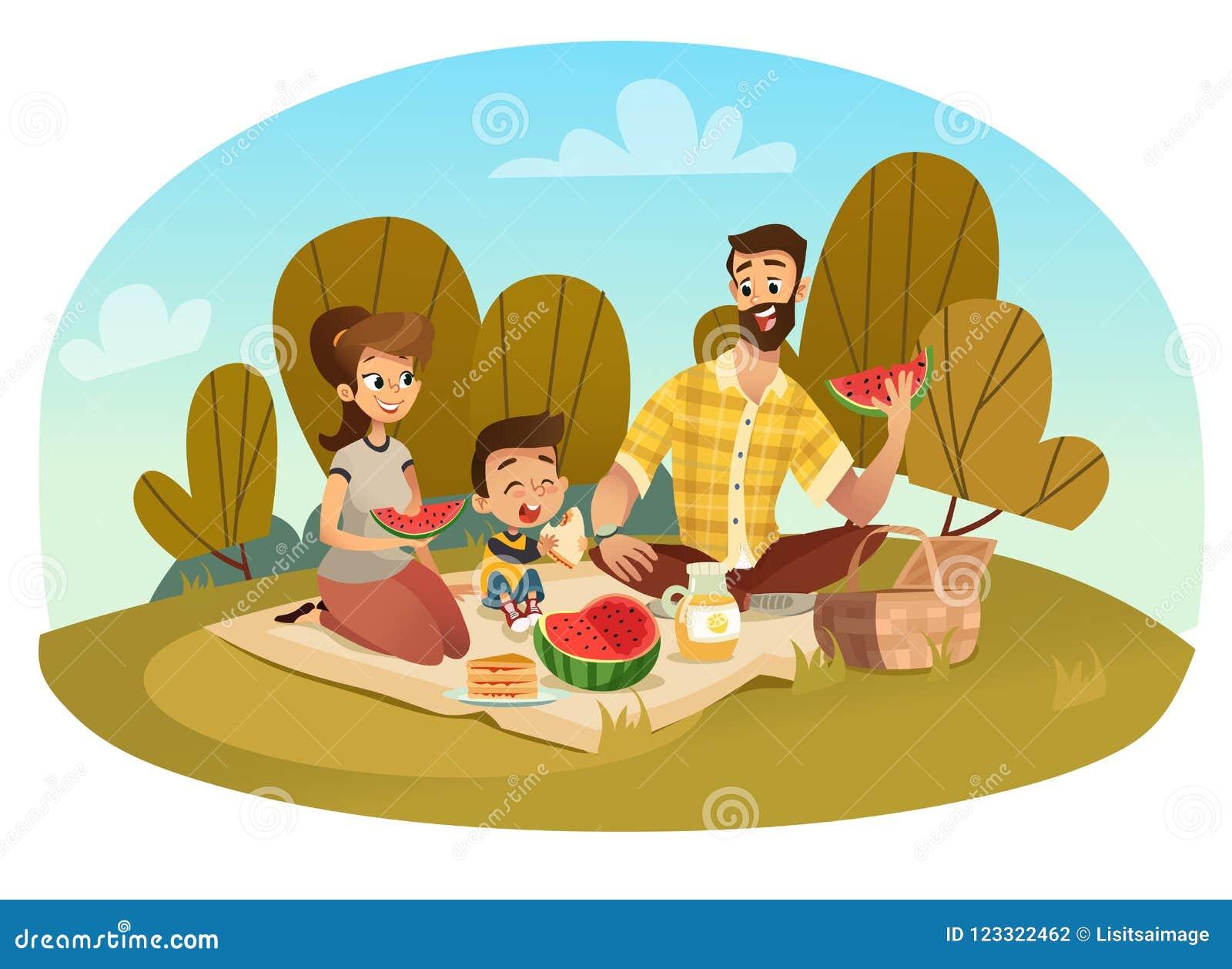系列愉快的野餐 爸爸,妈妈,儿子休息本质上 在一个平的样式的传染媒介例证