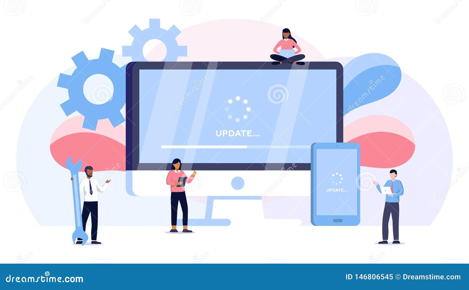 系统更新传染媒介例证概念,人更新操作系统可能使用为,登陆的页,模板,ui,网,流动应用程序