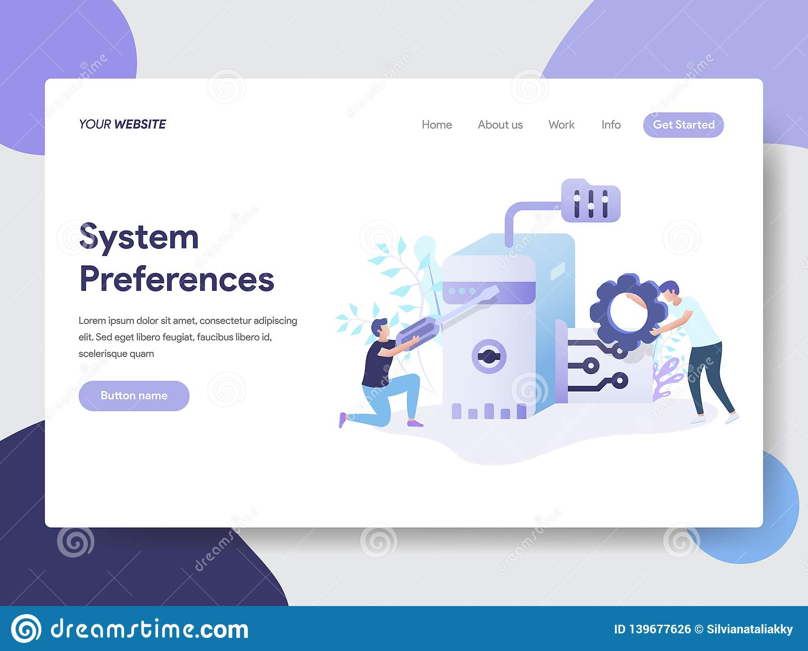 系统特选登陆的页模板设置例证概念的 网页设计的现代平的设计观念为