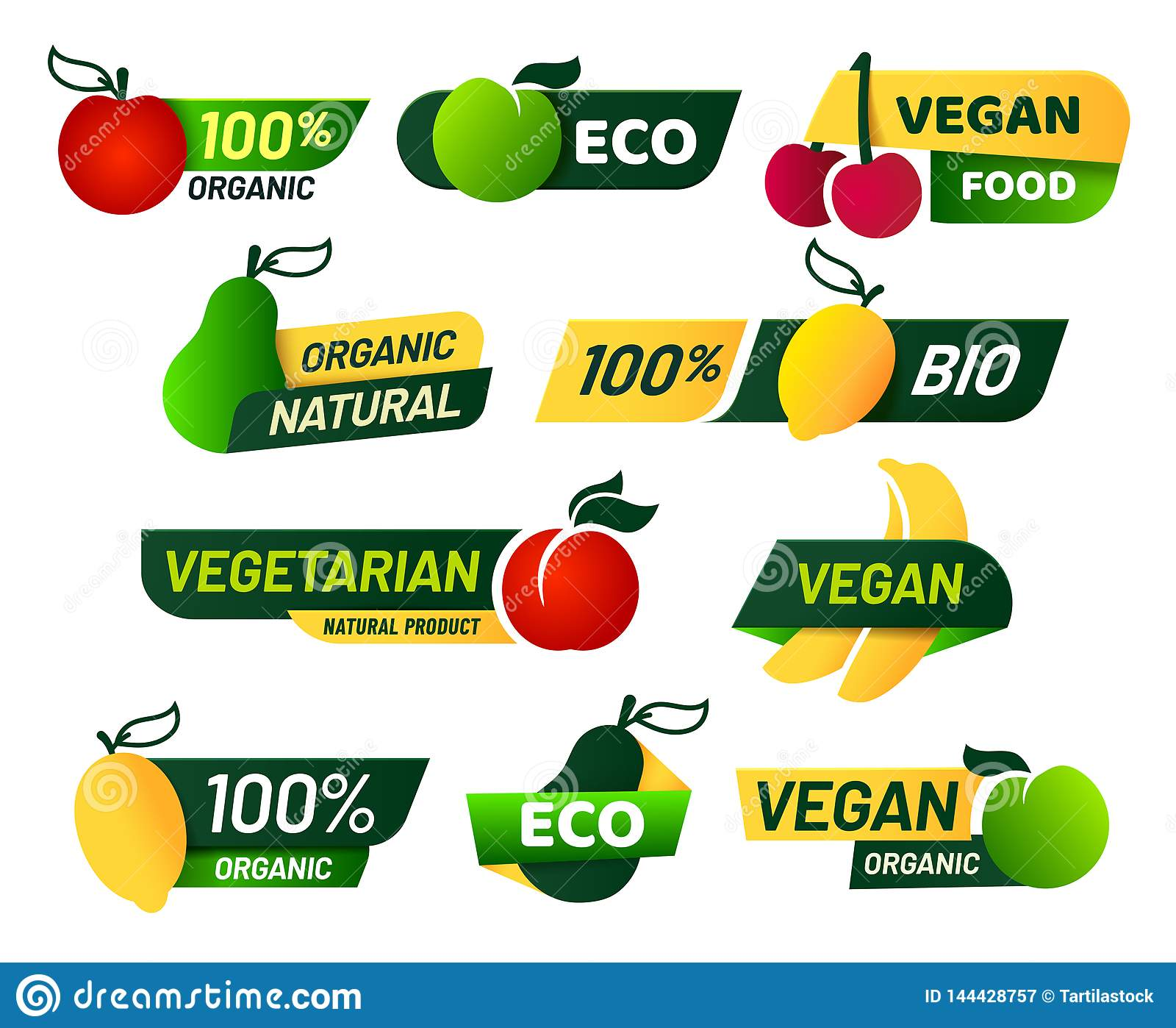 素食主义者标签 绿色eco食物、健康新鲜的有机产品和素食象征标签传染媒介集合