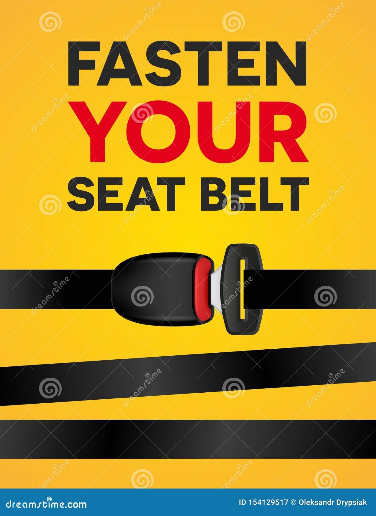 紧固您的游乐器具-社会印刷术海报 安全旅行传染媒介创造性的现实横幅在黄色背景的
