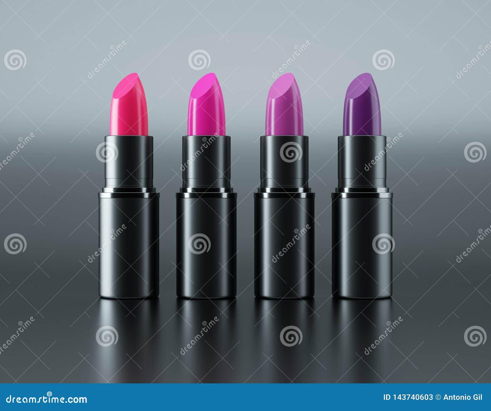 紫罗兰色各种各样的唇膏红色和