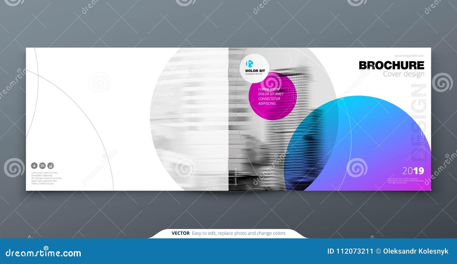 紫罗兰色小册子设计 小册子的水平的盖子模板,报告,编目,杂志 与梯度圈子的布局