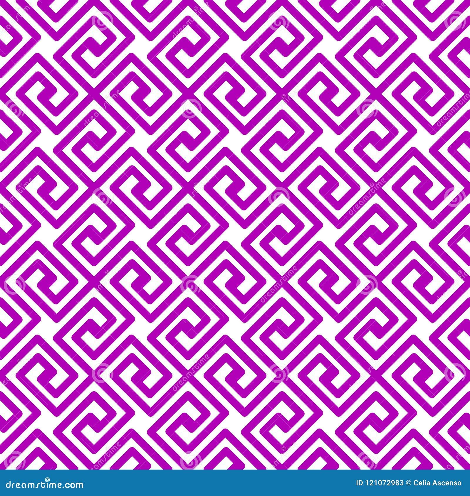 紫色几何正方形希腊无缝的样式