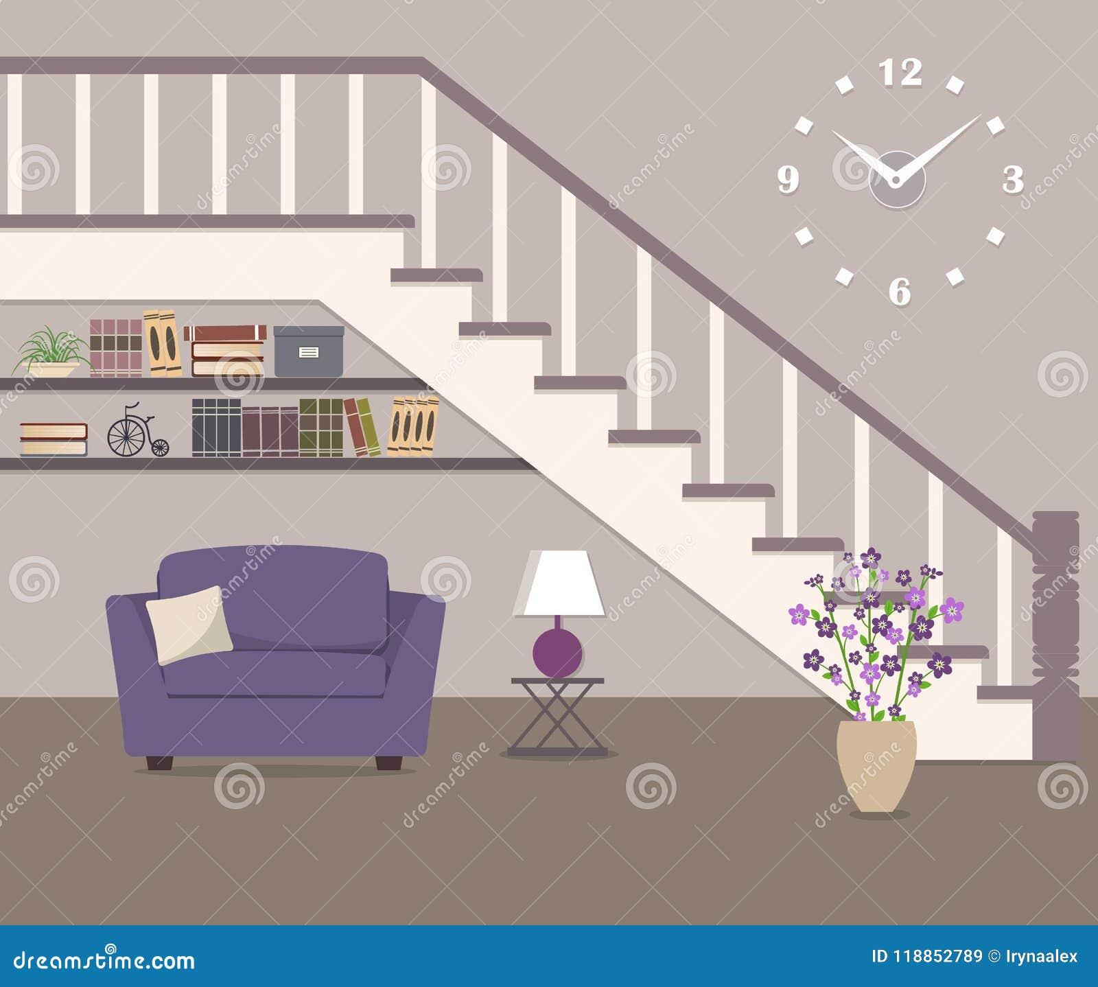 紫色扶手椅子,位于在台阶下