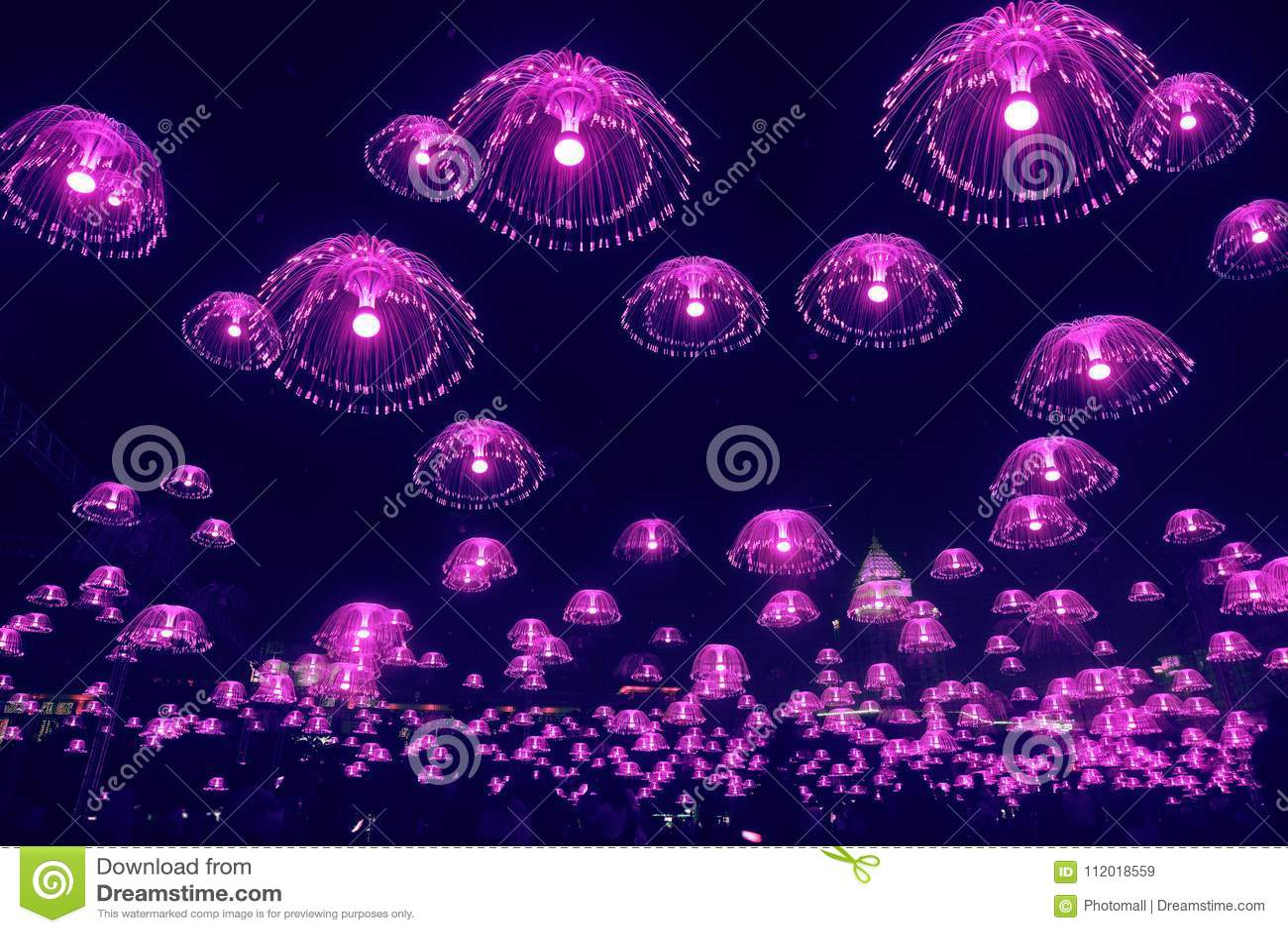紫色水母光在夜空发光