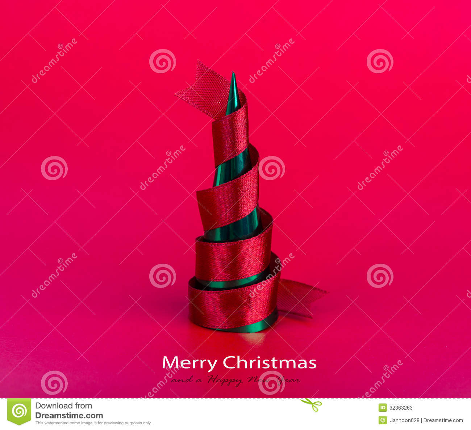 红色丝带圣诞树