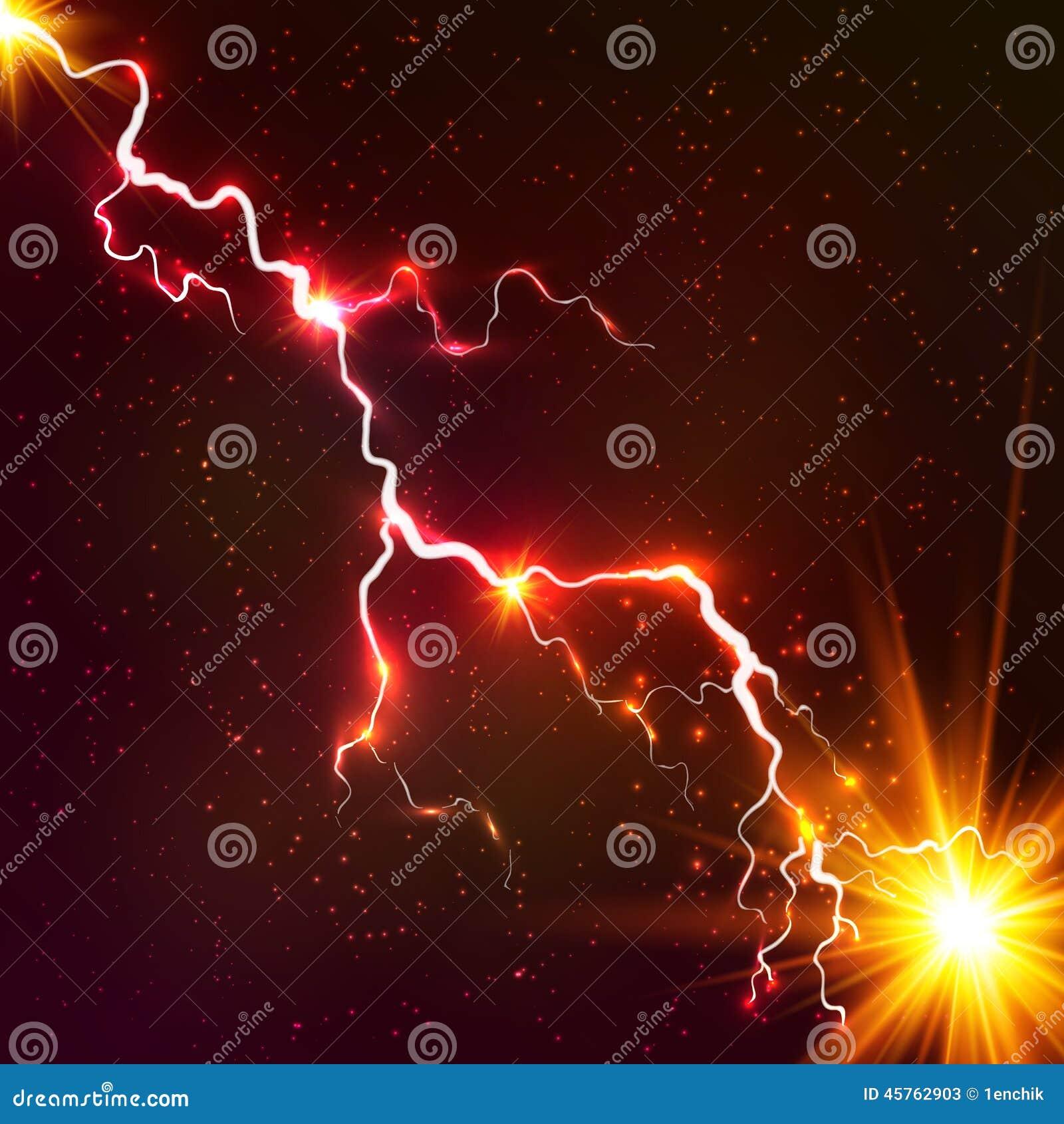 红色光亮的宇宙等离子传染媒介闪电