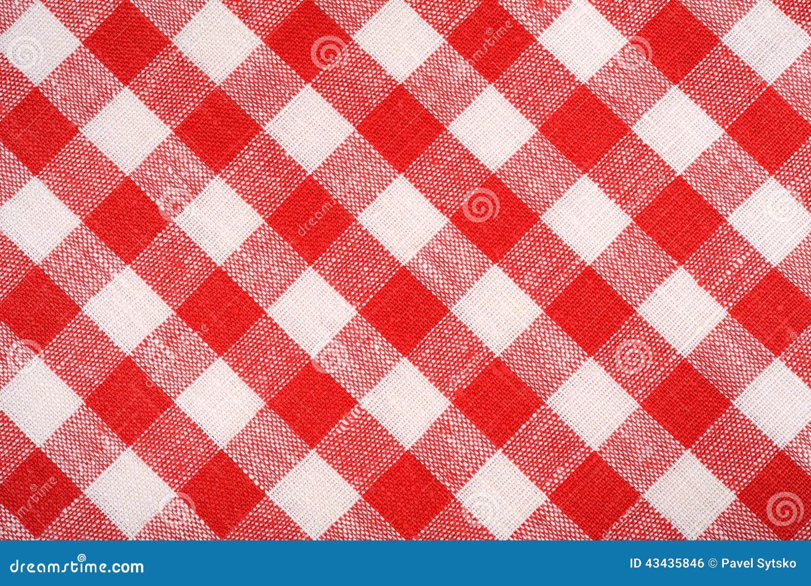 红色和白色格子花呢披肩织品 亚麻制红色方格 背景和纹理