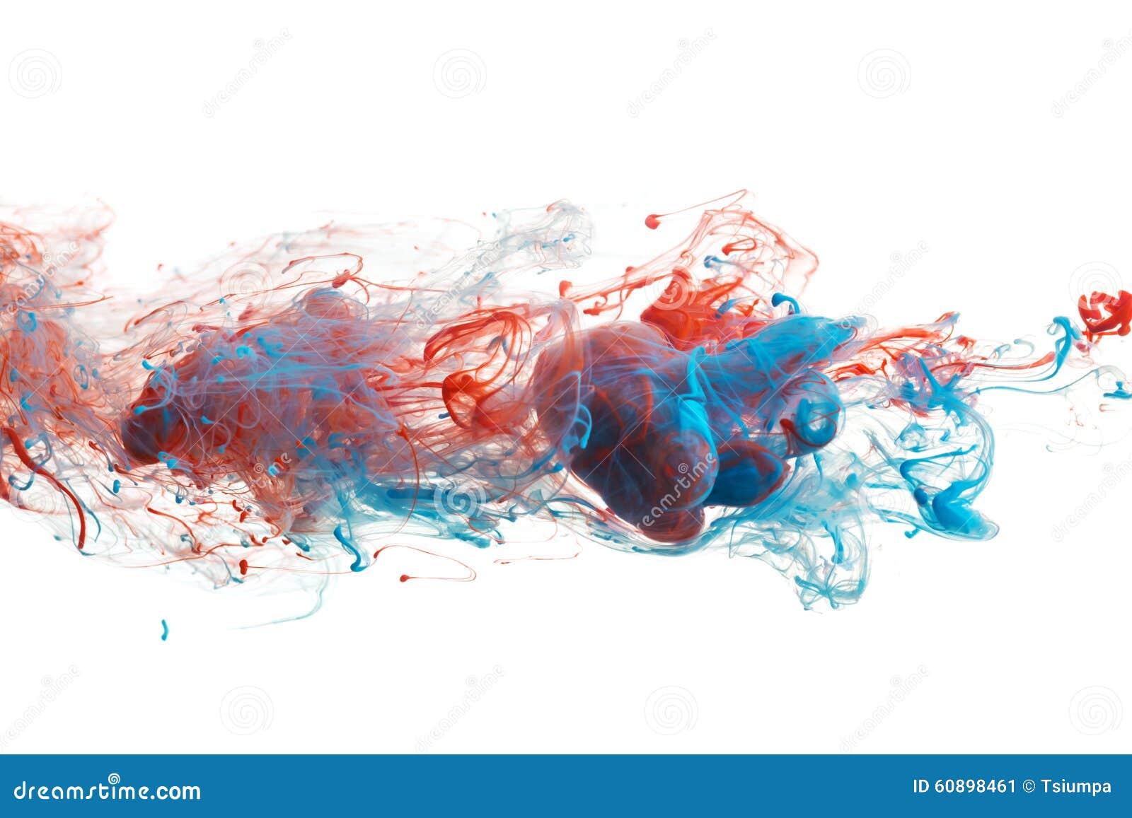 红色和蓝墨水