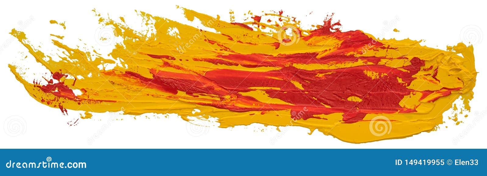 红色和黄色杂乱被察觉的油纹理画笔冲程