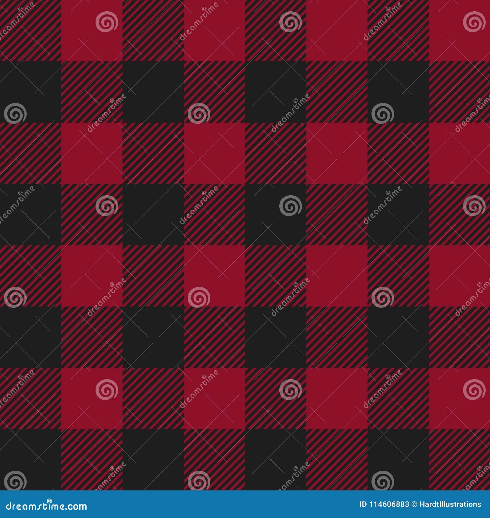 红色和黑色美洲野牛检查格子花呢披肩无缝的样式