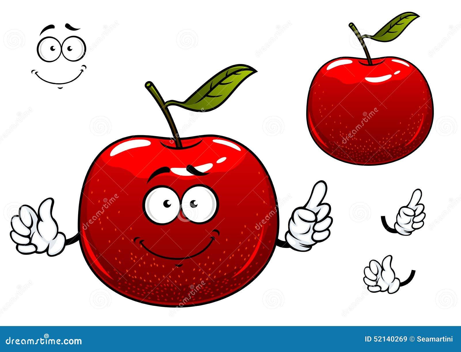 红色嘎吱咬嚼的苹果果子漫画人物图片