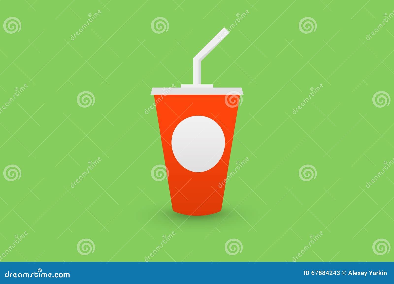 红色塑料杯与秸杆的可乐