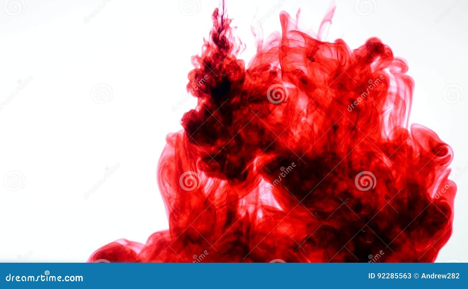 红色墨水在水中 摘要