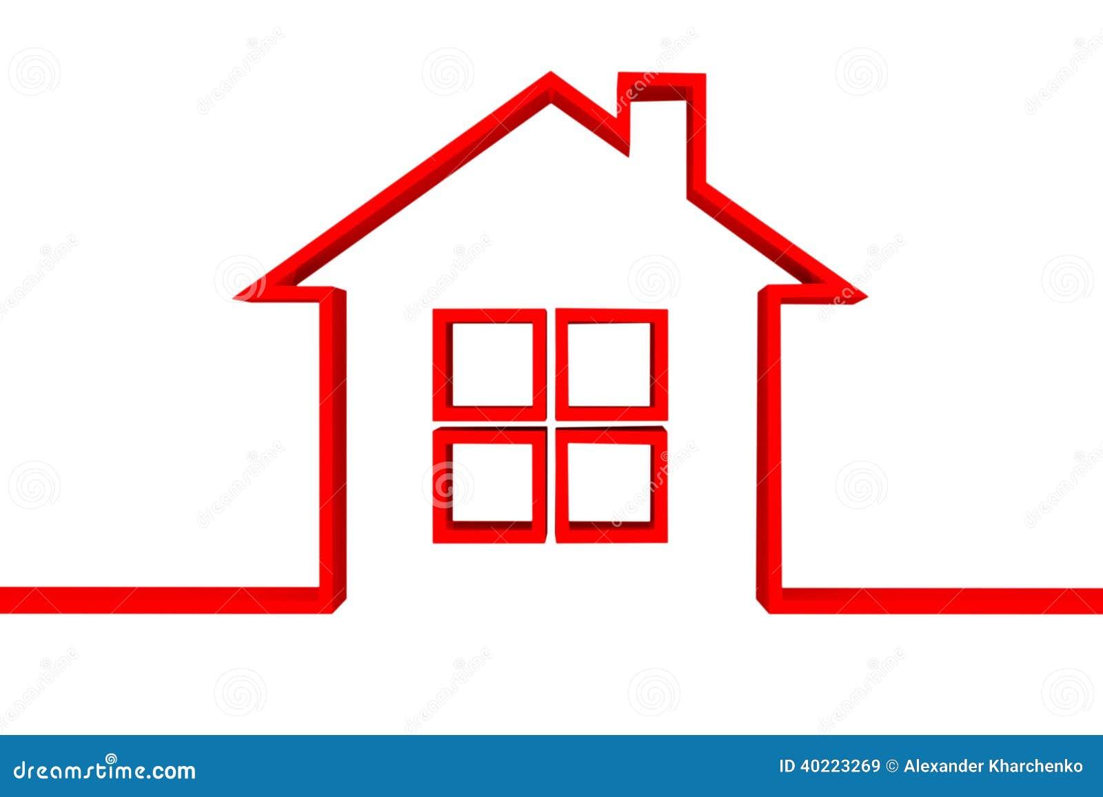 在白色背景的红色房子标志.图片
