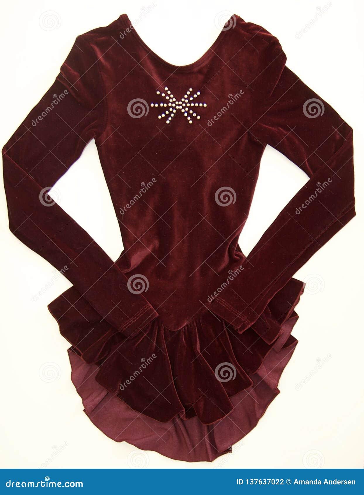 红色有水晶的花样滑冰礼服-正面图
