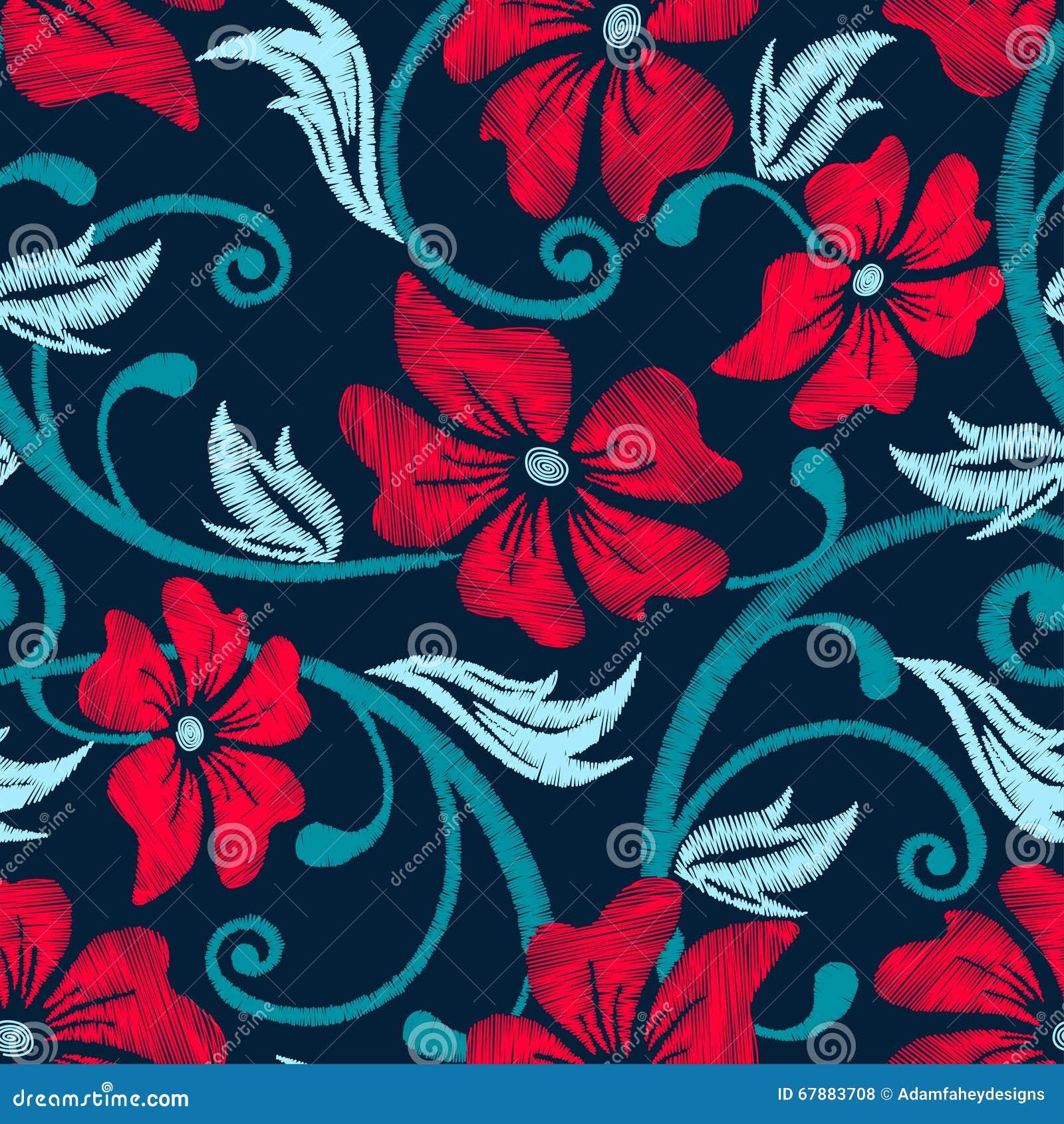 红色木槿热带刺绣花卉无缝的样式