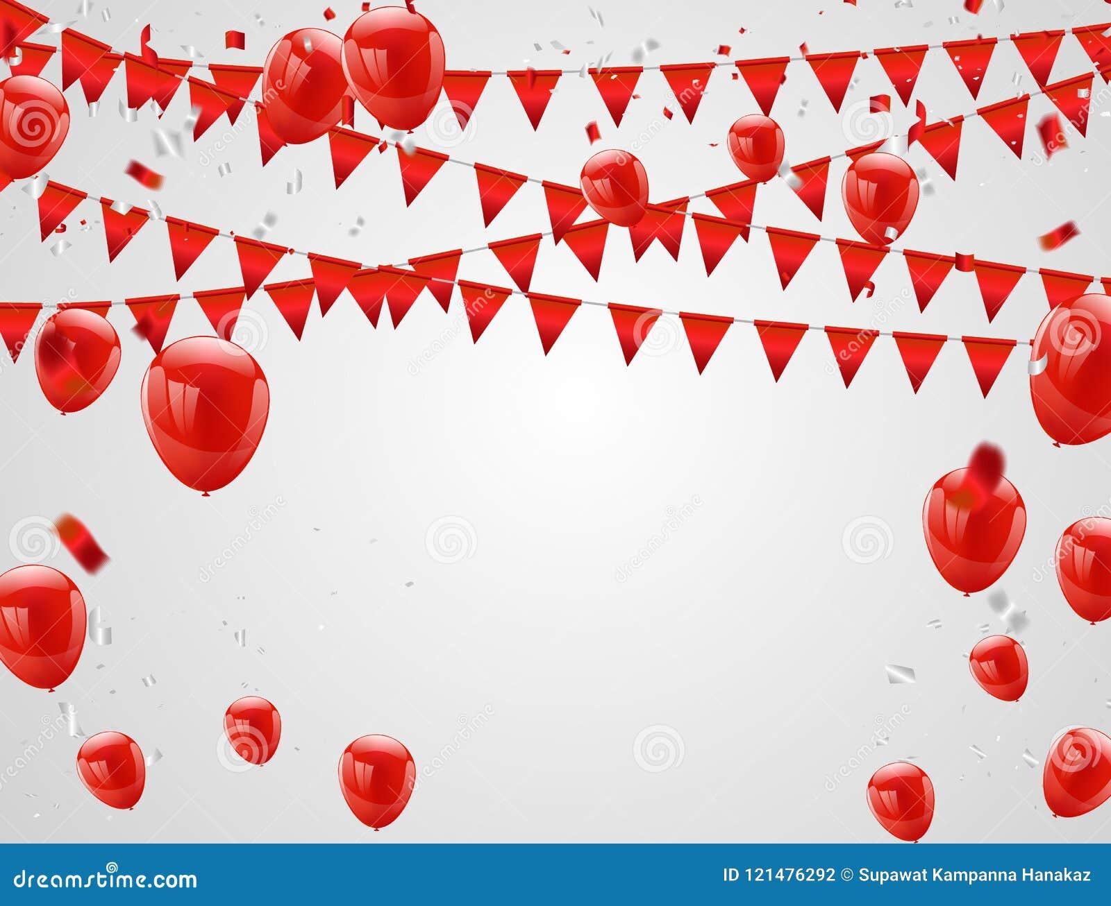 红色气球,五彩纸屑概念 庆祝传染媒介例证