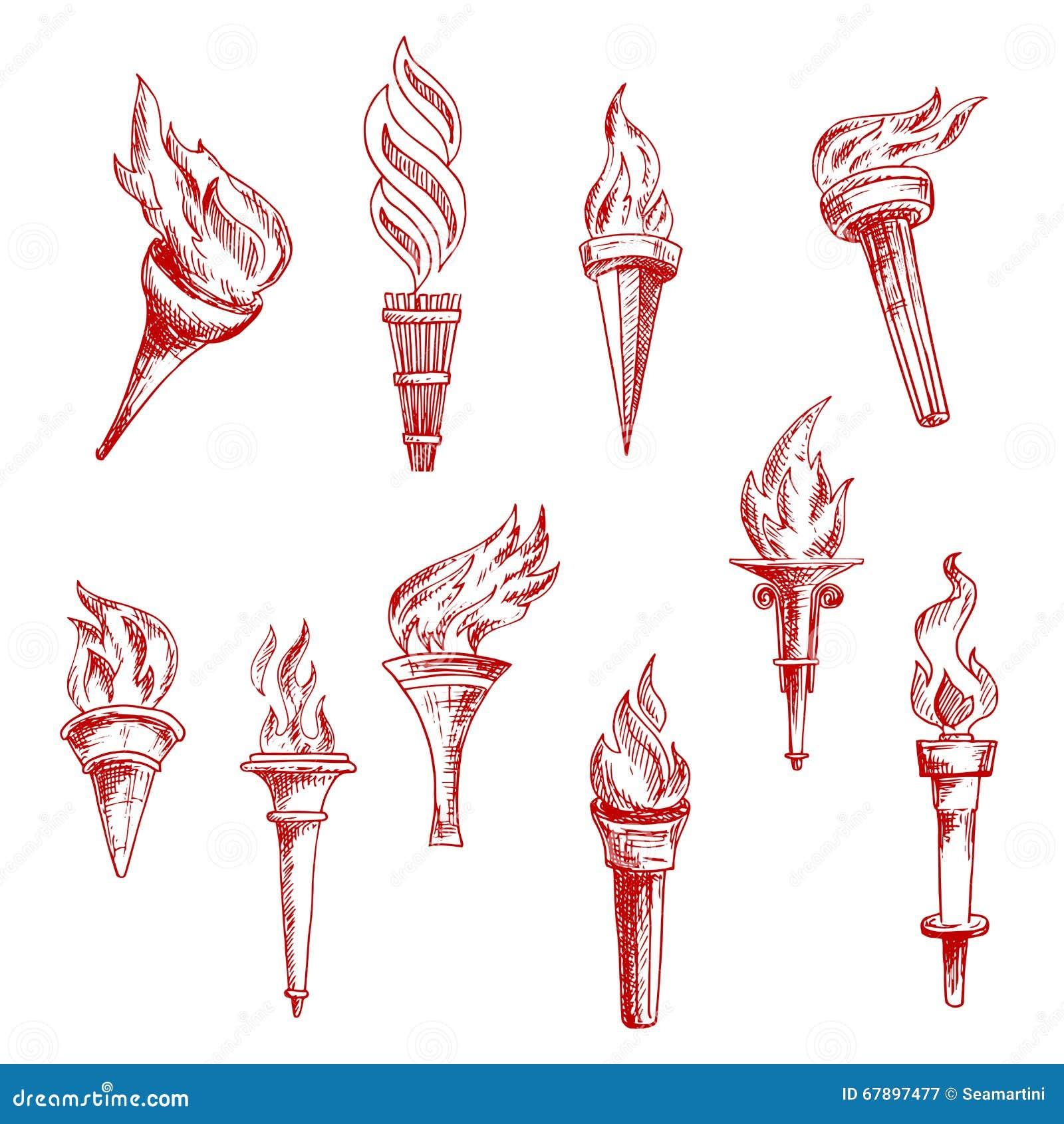 红色火焰状火炬剪影象
