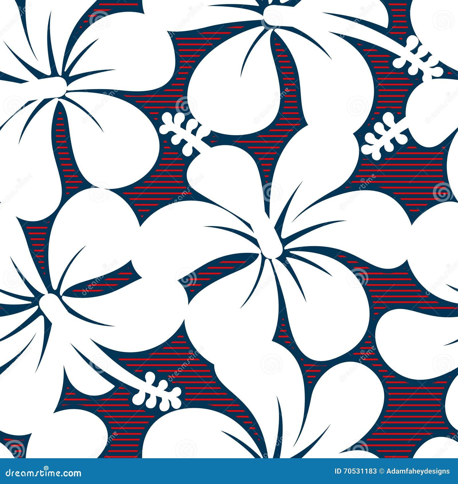红色白色和蓝色木槿排行无缝的样式