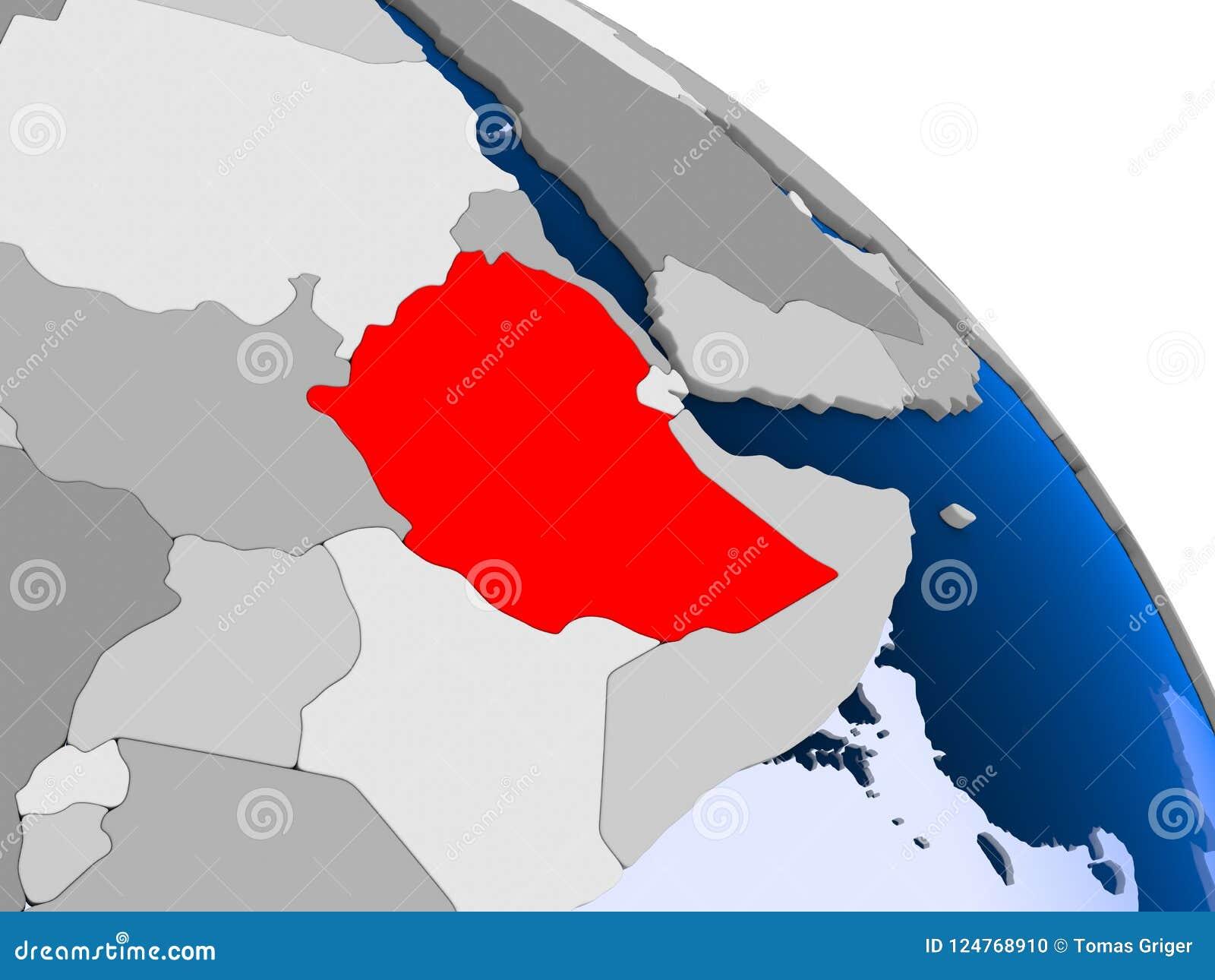 红色的埃塞俄比亚在地图