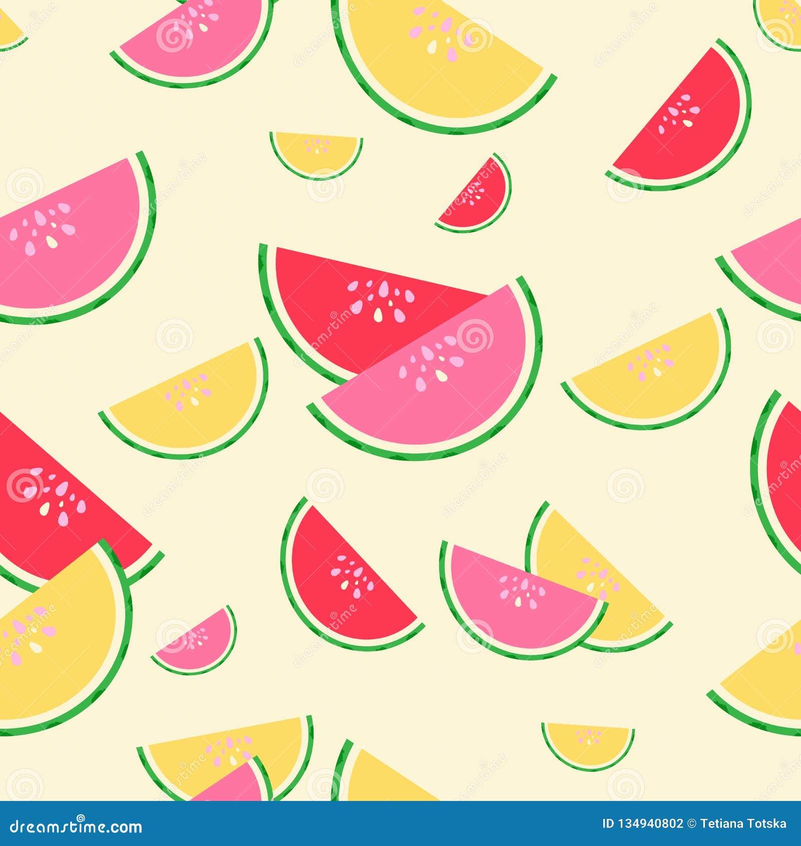 红色的夏天,桃红色和黄色西瓜无缝的样式