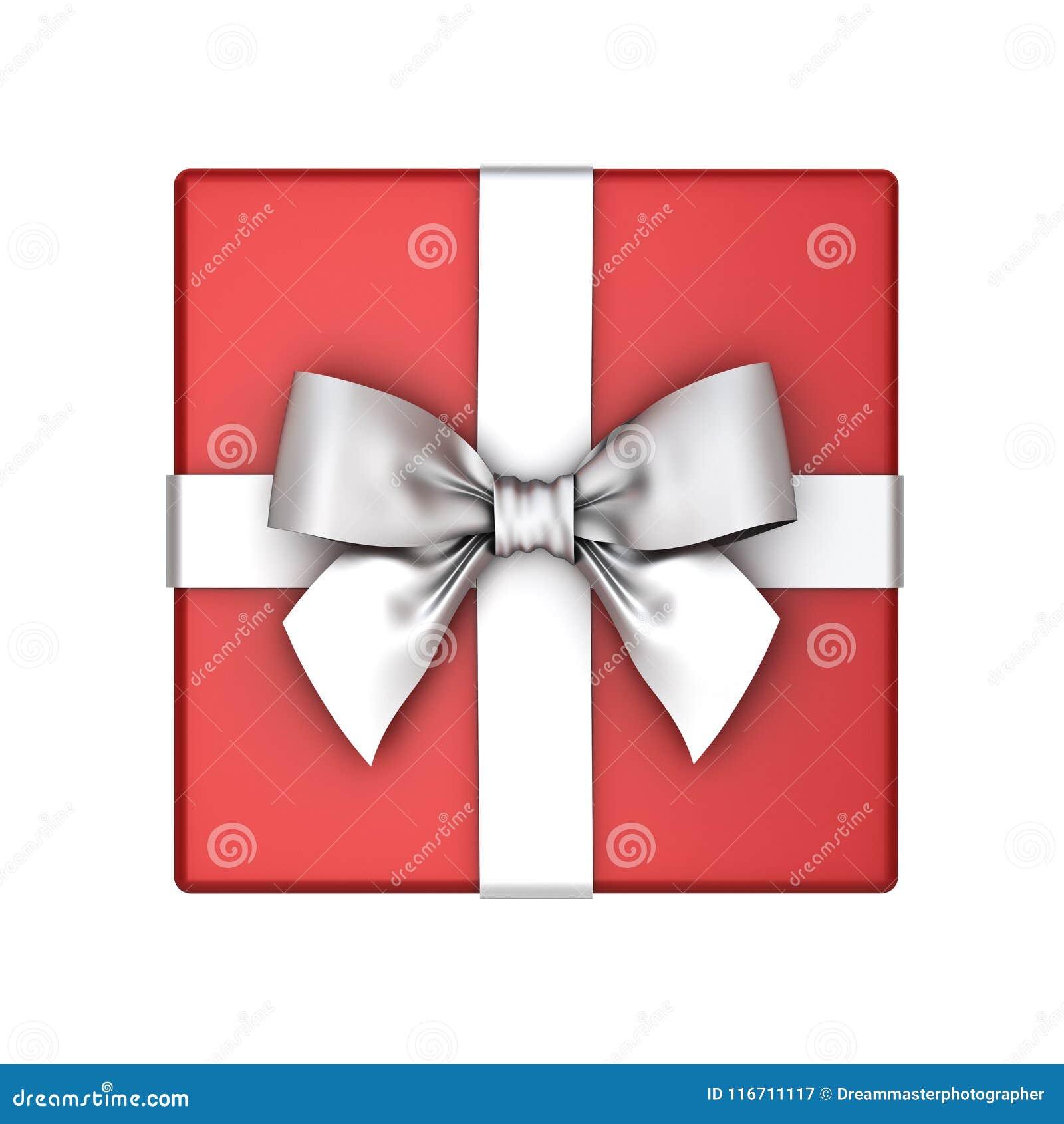 红色礼物盒或当前箱子有在白色背景隔绝的银色丝带弓的