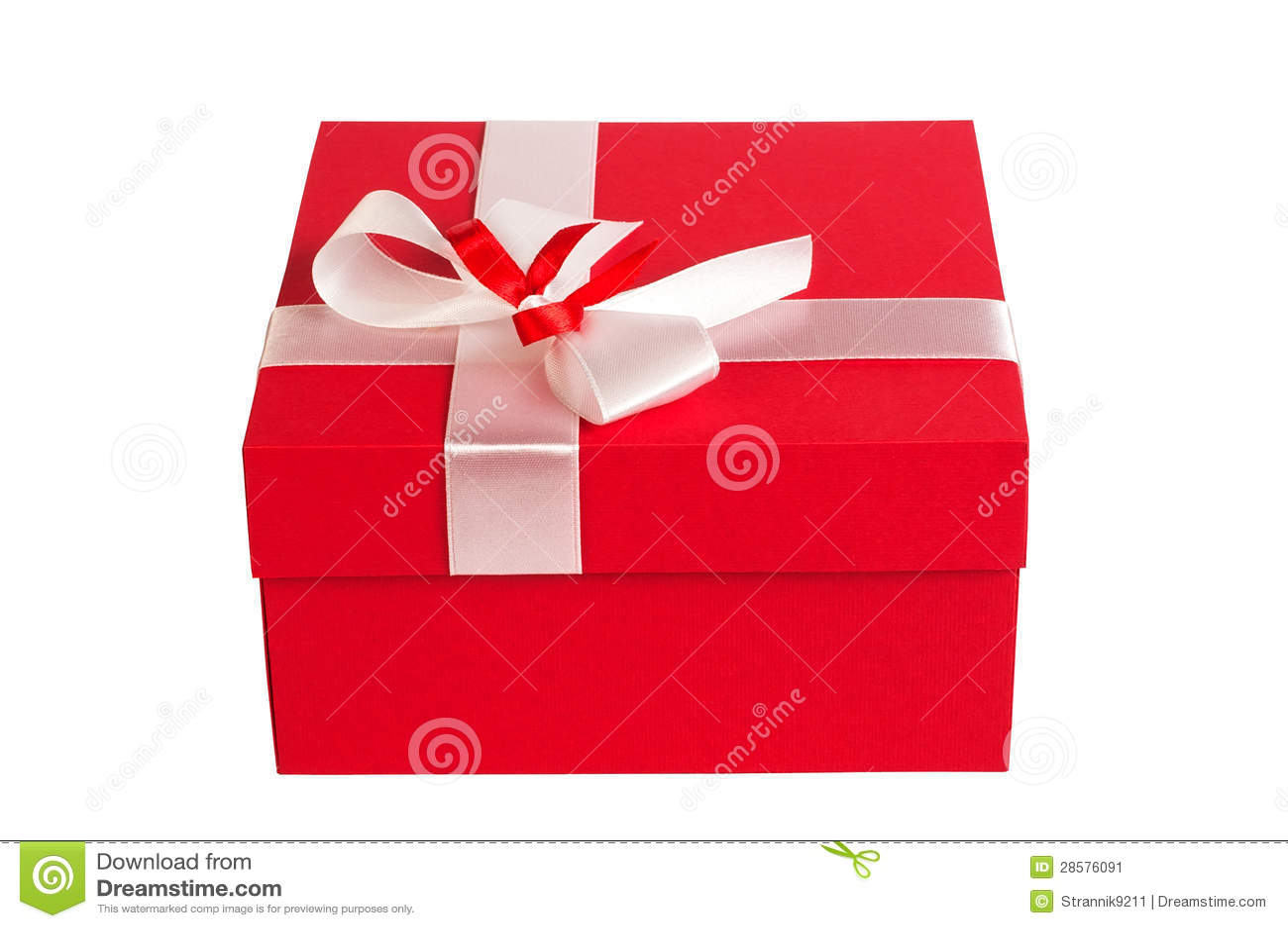 盒_红色礼物盒,闭合,查出在空白背景.