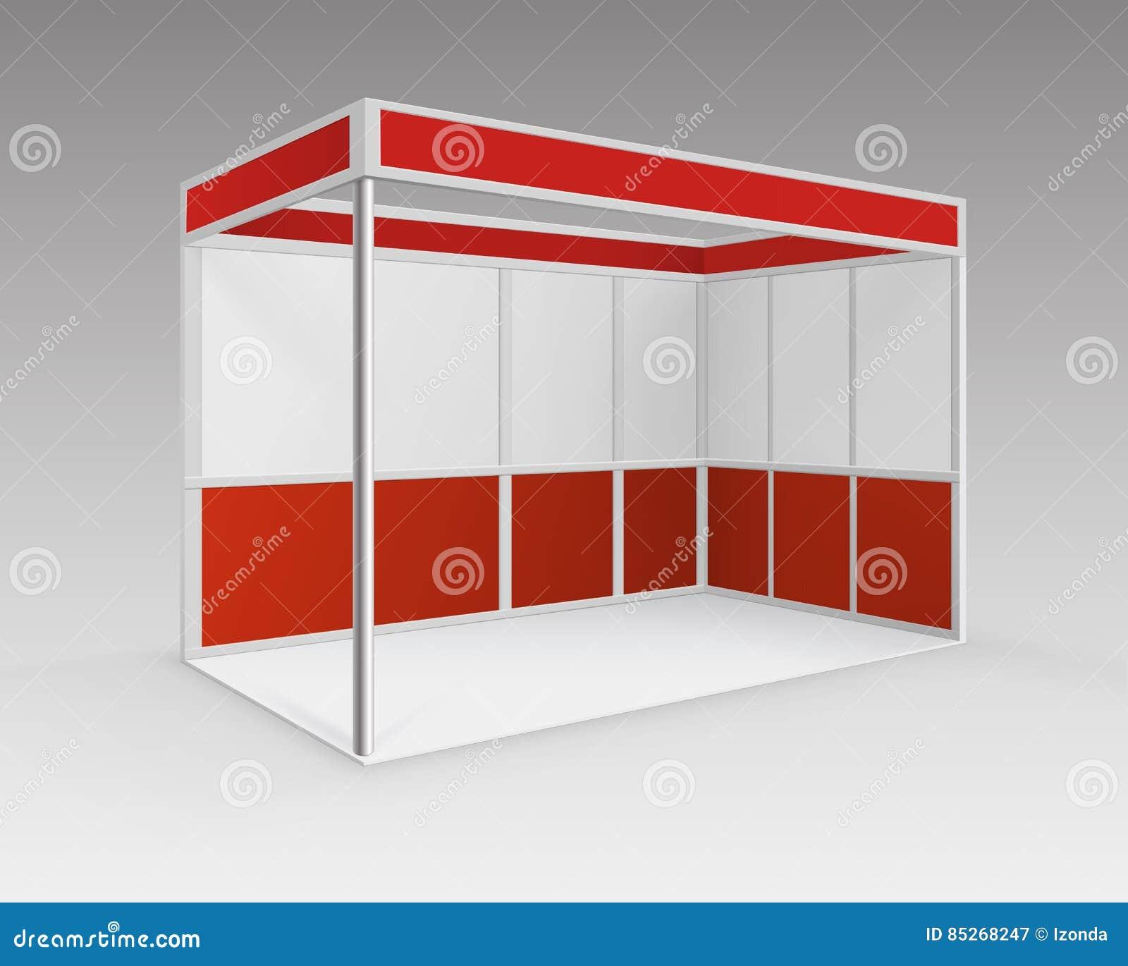 红色空白的室内商业陈列摊立场