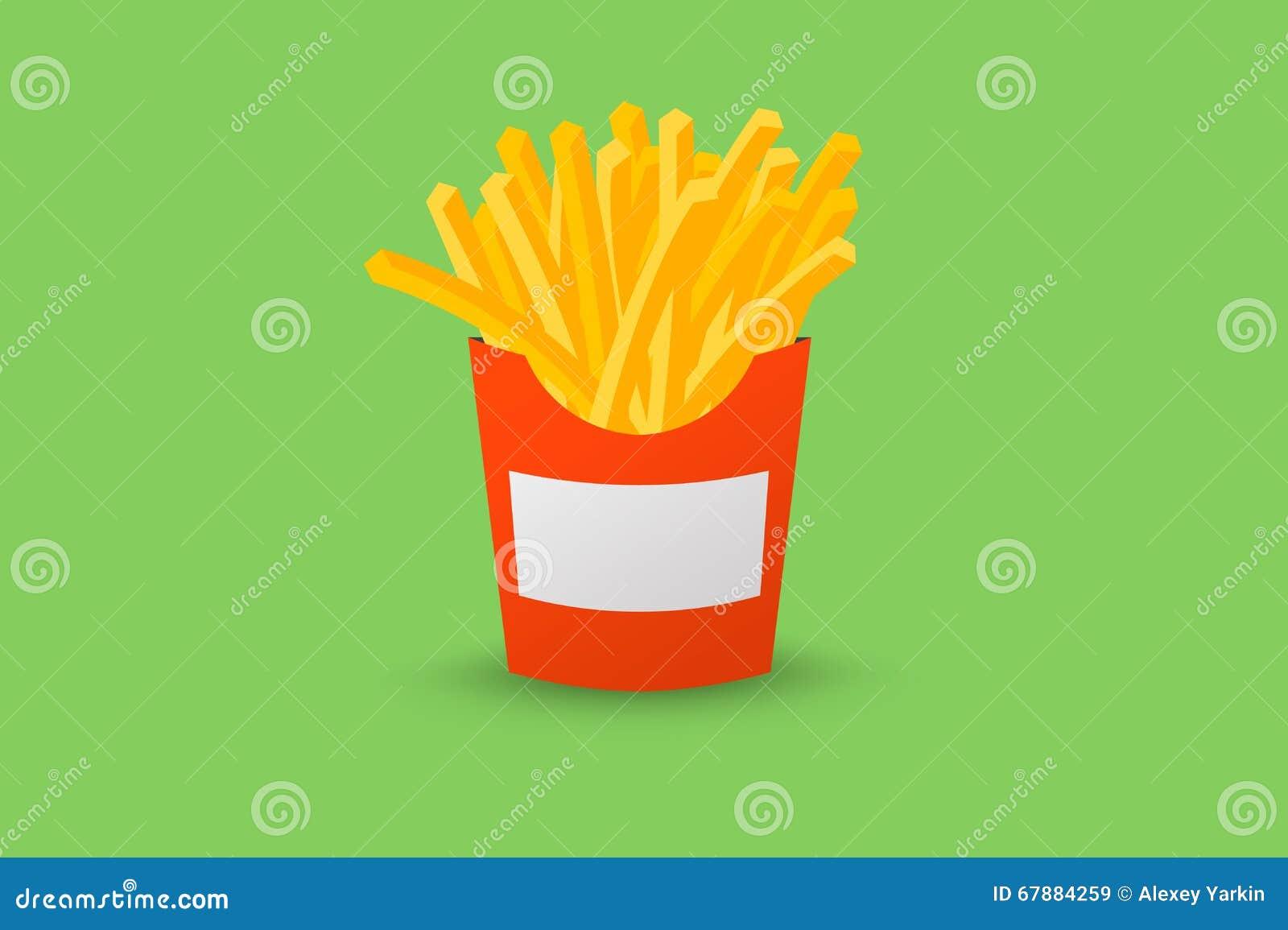 红色箱炸薯条