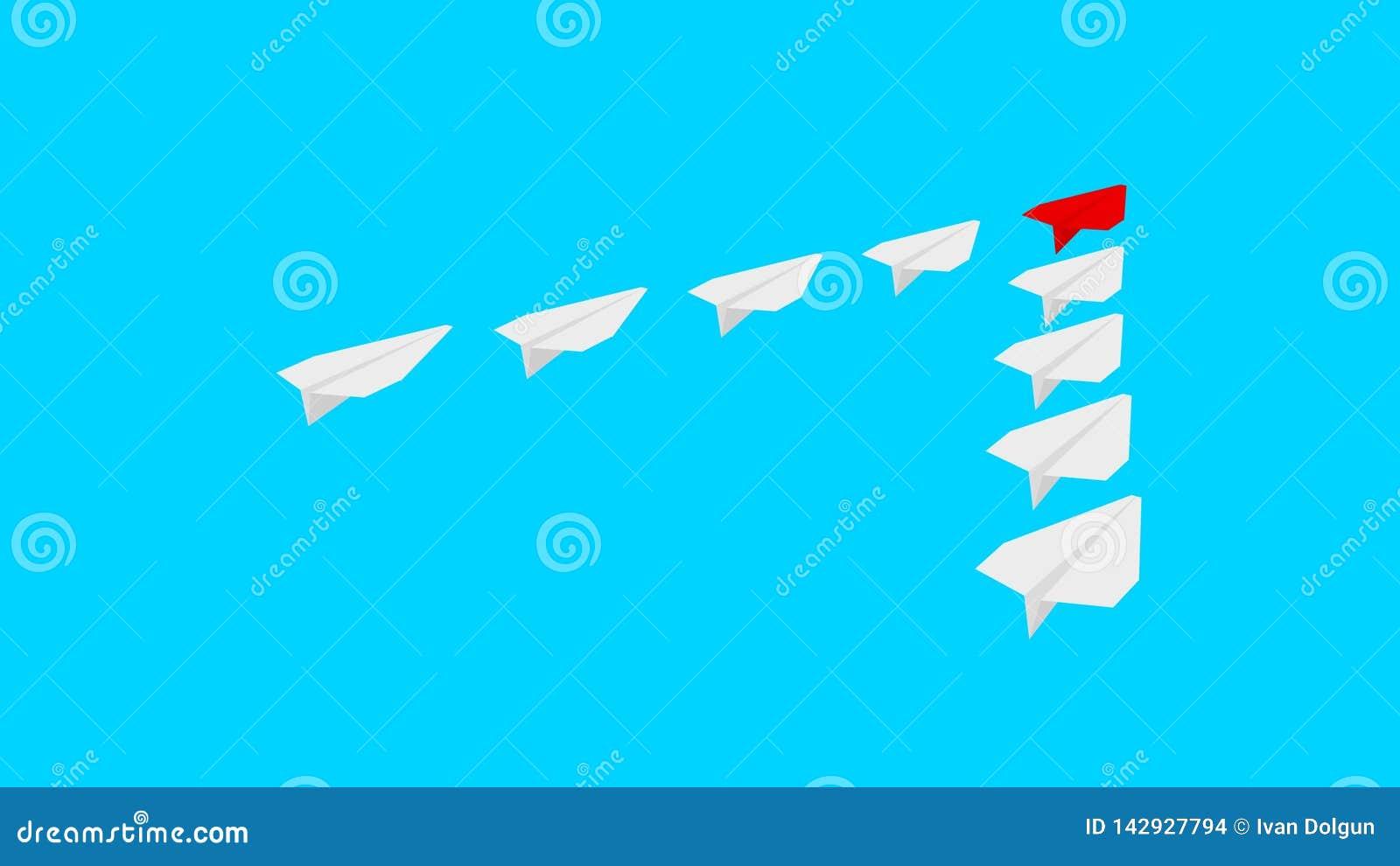 红色纸飞机和许多白皮书飞机在土耳其玉色背景