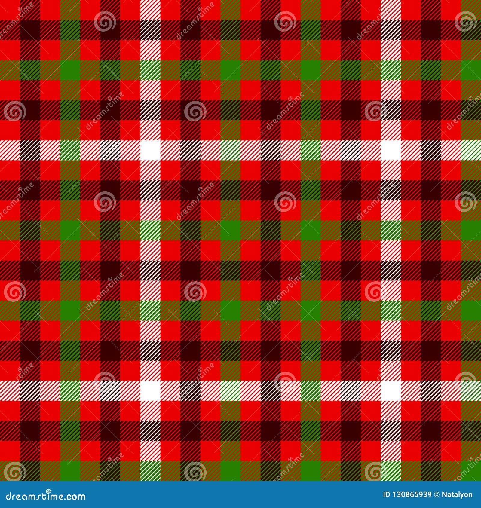 红色绿色和黑格子呢传统织品无缝的样式,传染媒介