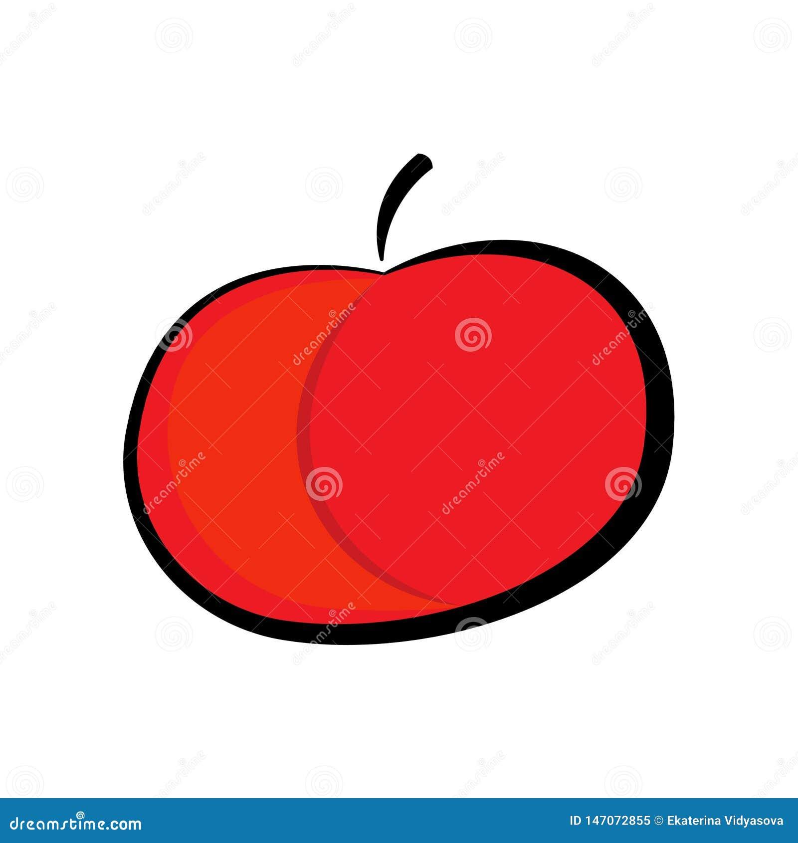红色苹果象,隔绝在白色背景 平的设计的传染媒介元素健康的,饮食