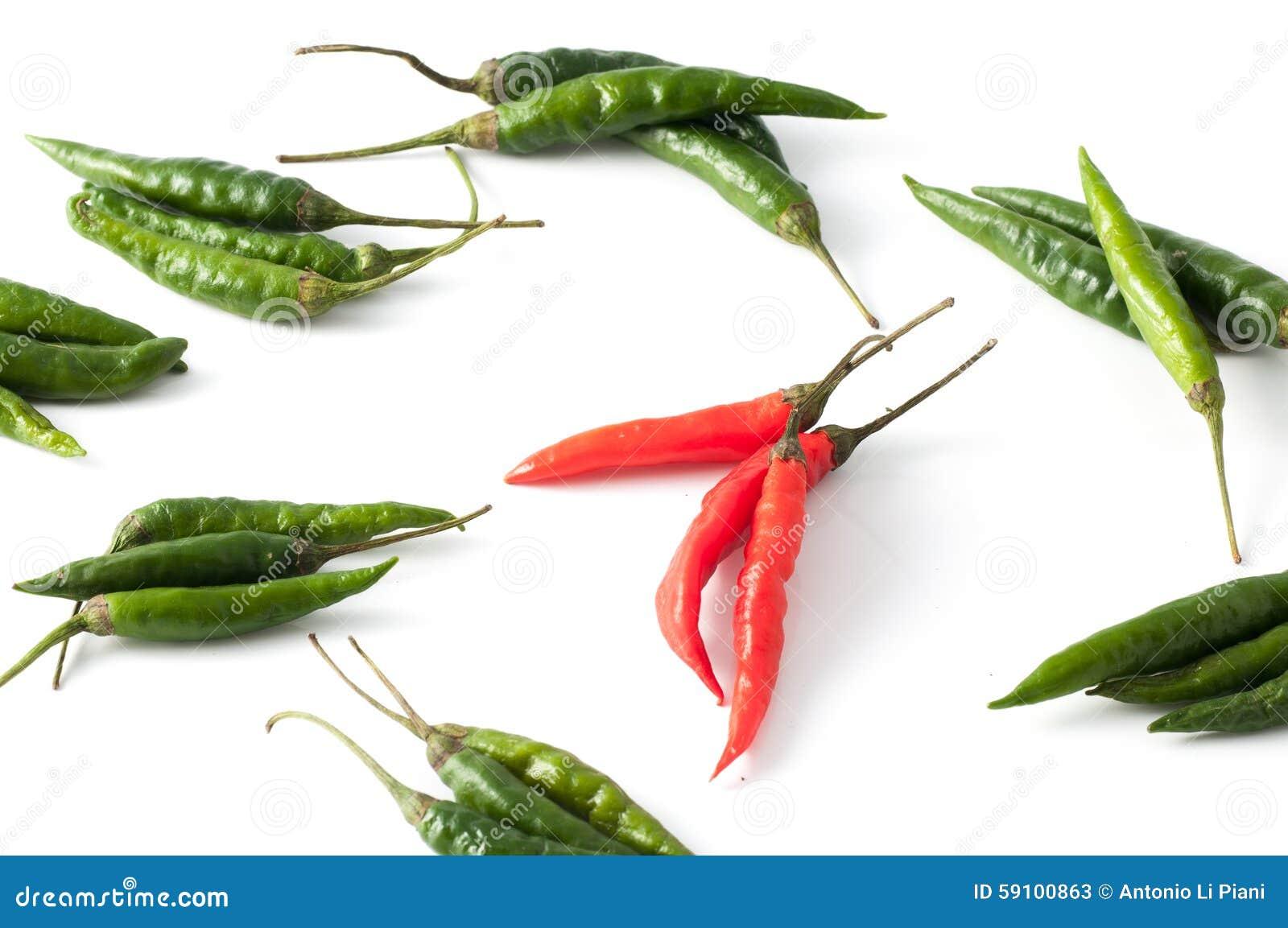 红色辣椒的青椒
