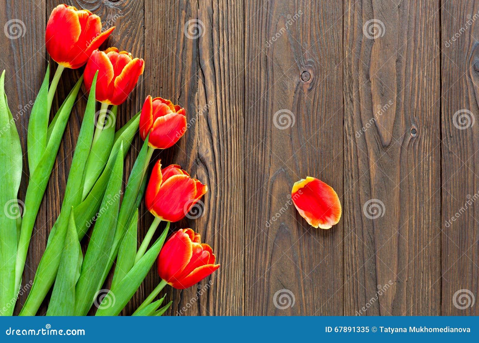 红色郁金香和卡拉服特信封在木背景