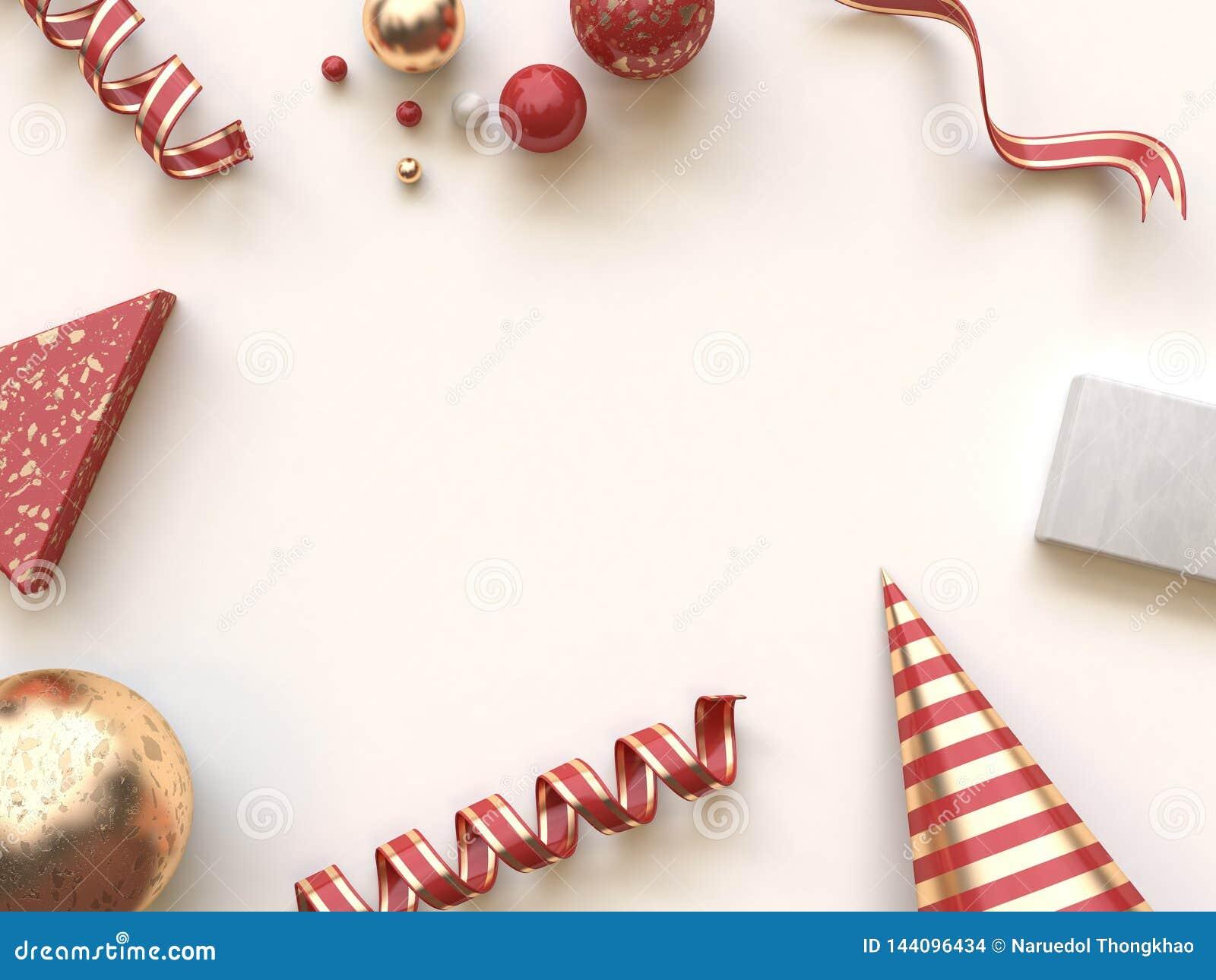 红色金摘要形状几何圣诞节概念平的被放置的背景3d翻译