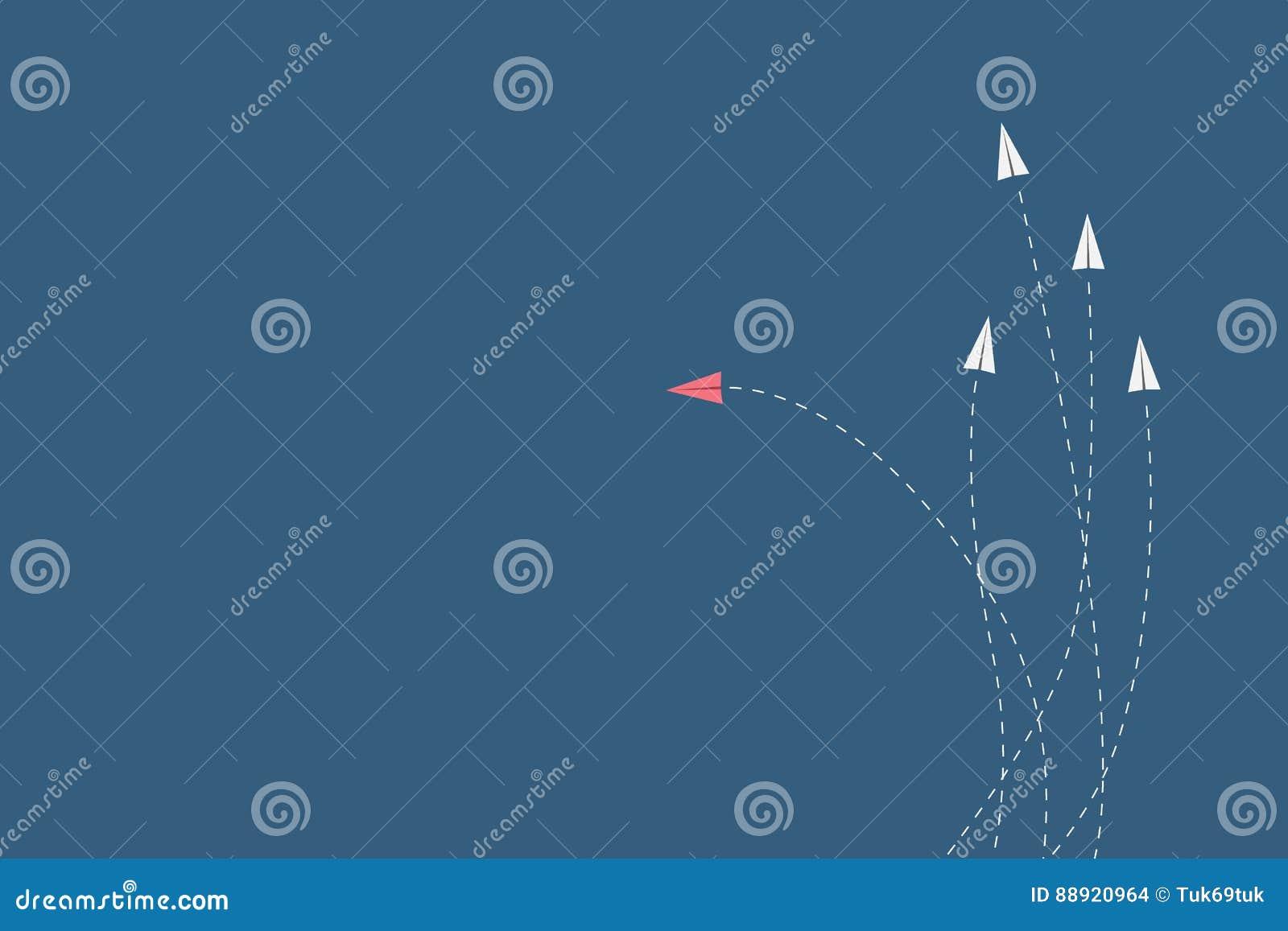 红色飞机改变的方向和白色一个 新的想法,变动,趋向,勇气,创造性的解答,创新a