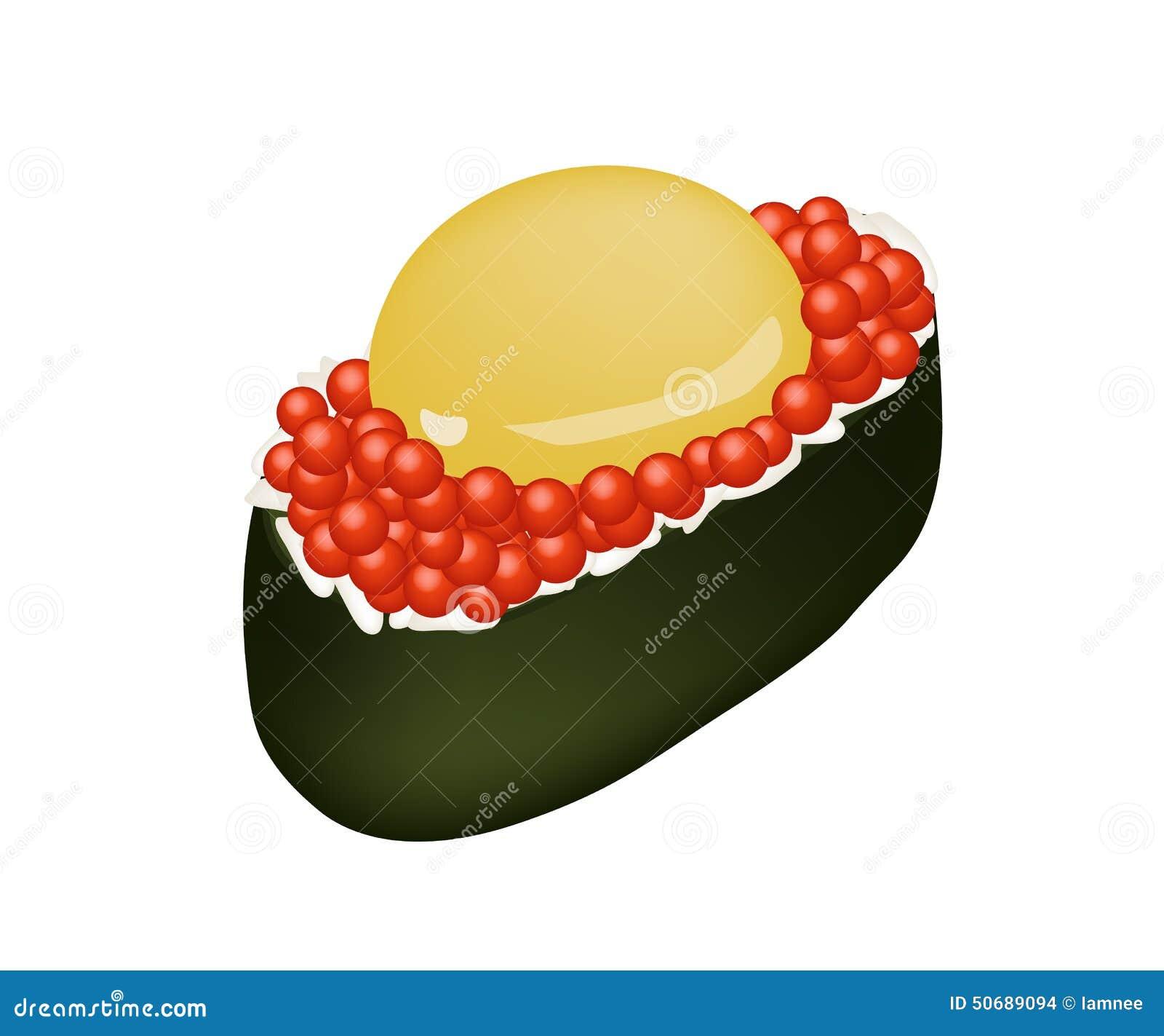 Download 红色鱼子酱三文鱼獐鹿卷用未加工的鹌鹑蛋 向量例证. 插画 包括有 成份, 海草, 营养, 饮料, 艺术, 獐鹿 - 50689094